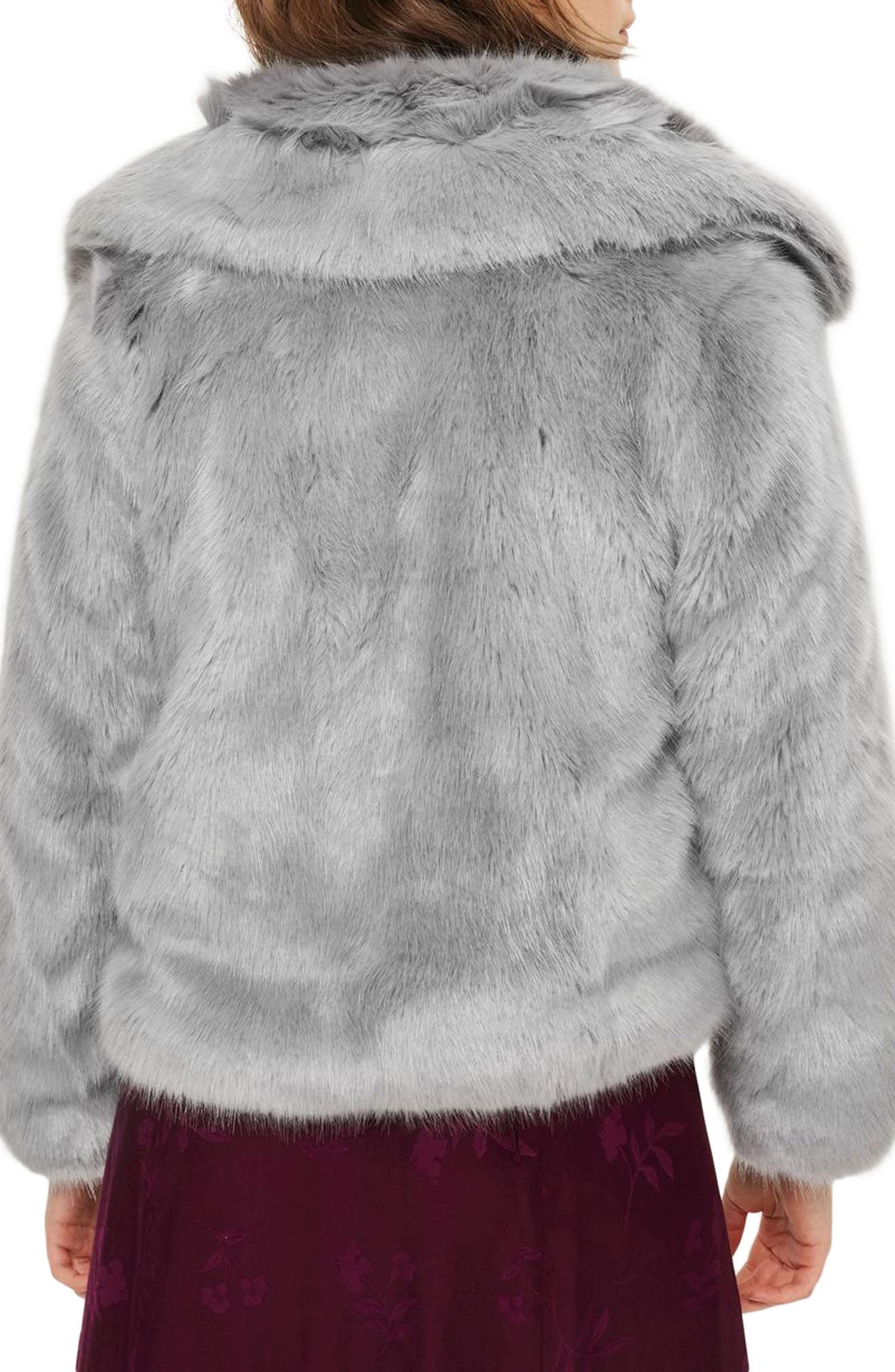 Claire Faux Fur Coat,                             Alternate thumbnail 3, color,                             Dark Grey