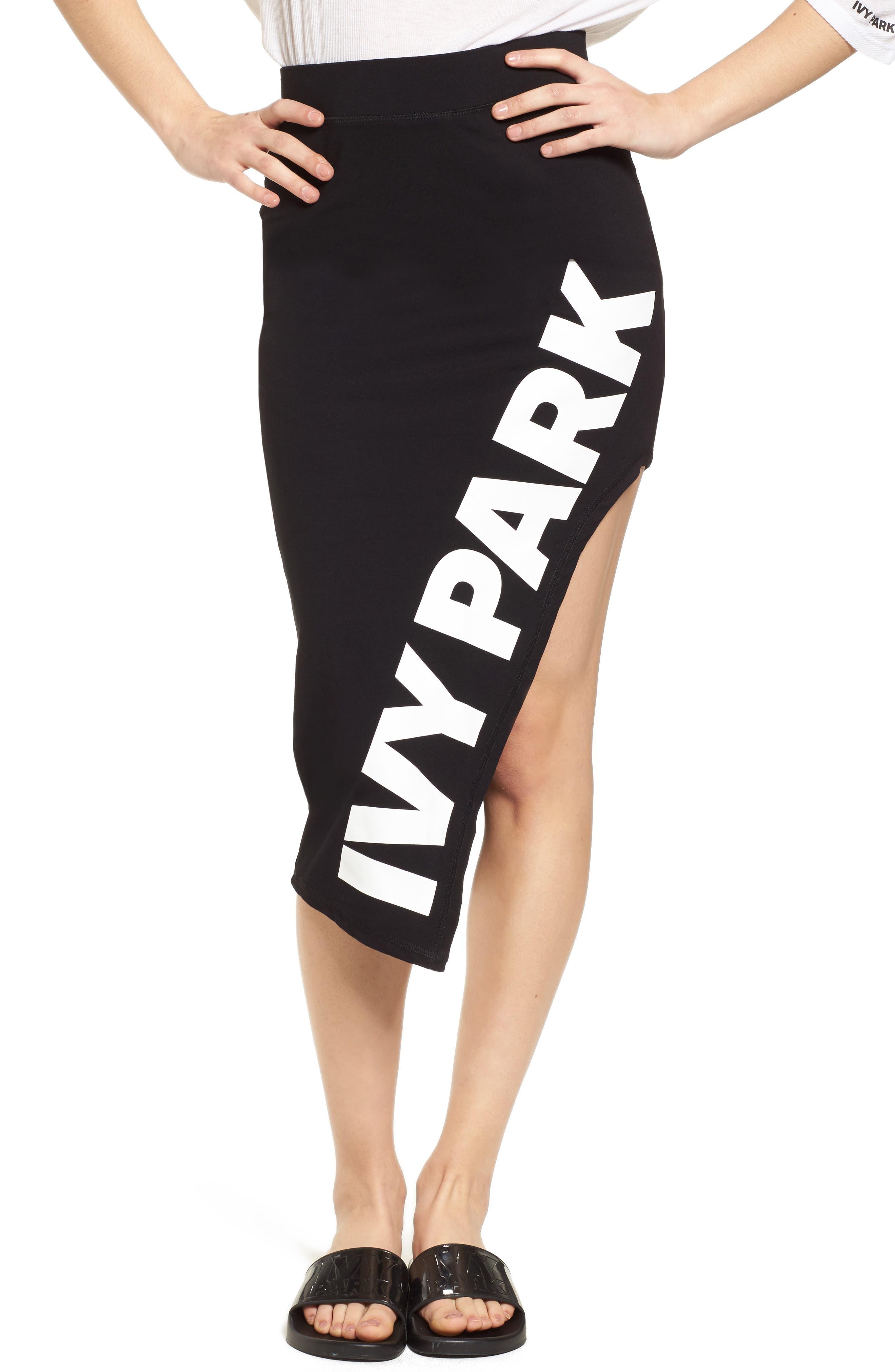 Logo Cutaway Side Pencil Skirt,                         Main,                         color, Black