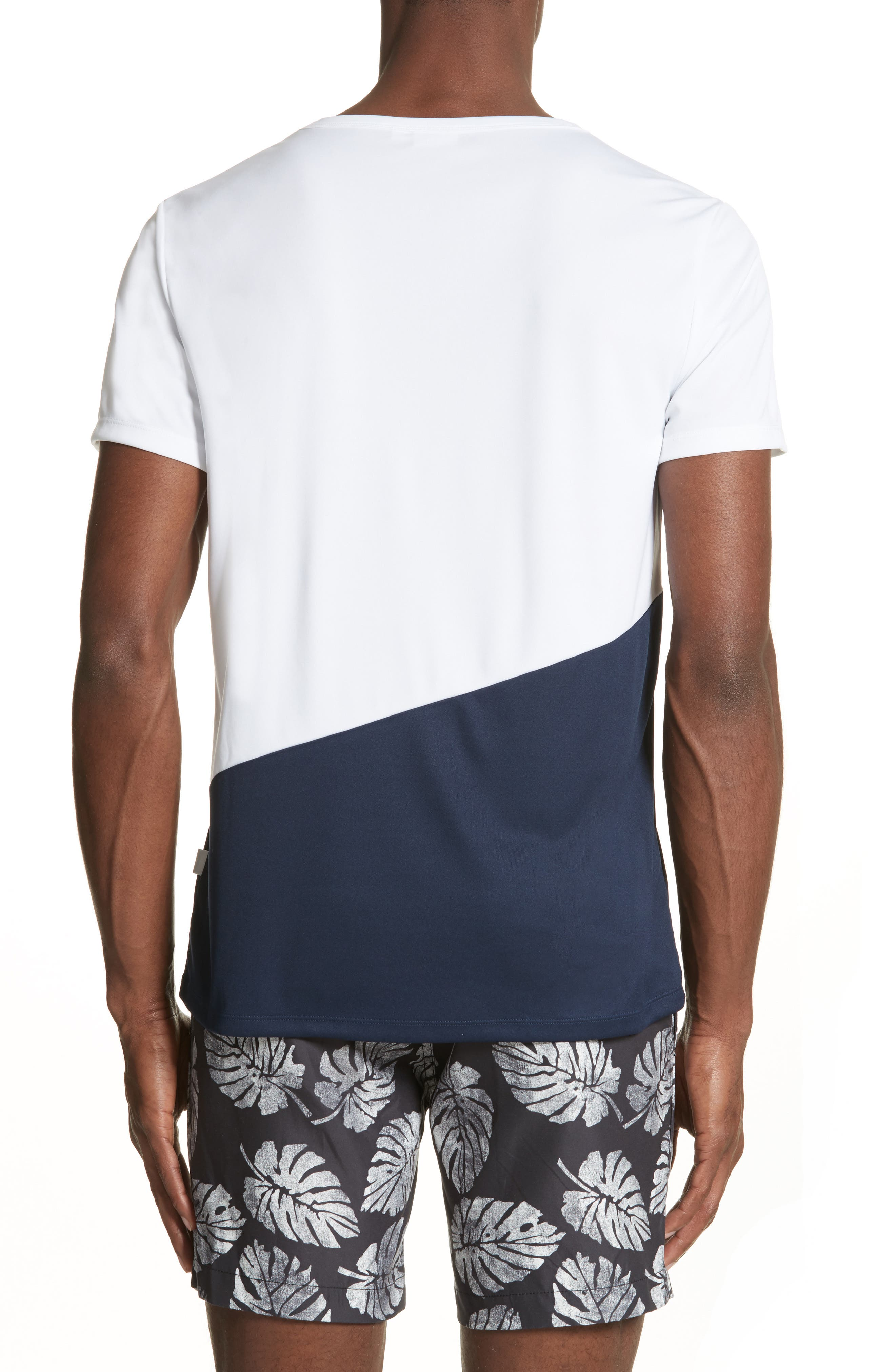 Colorblock Crewneck T-Shirt,                             Alternate thumbnail 2, color,                             Deep Navy/ White