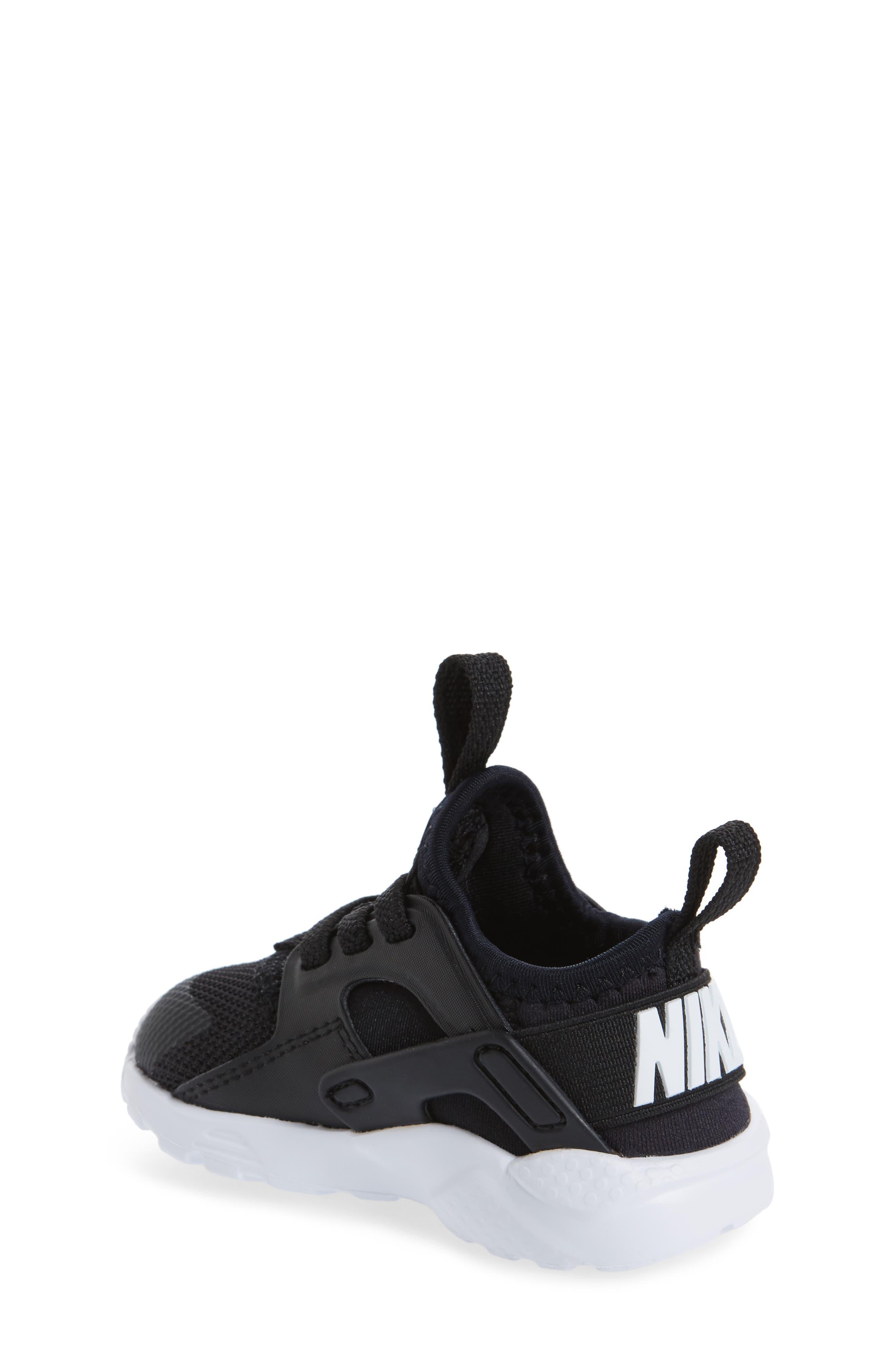 Air Huarache Run Ultra Sneaker,                             Alternate thumbnail 2, color,                             Black/ Black/ White