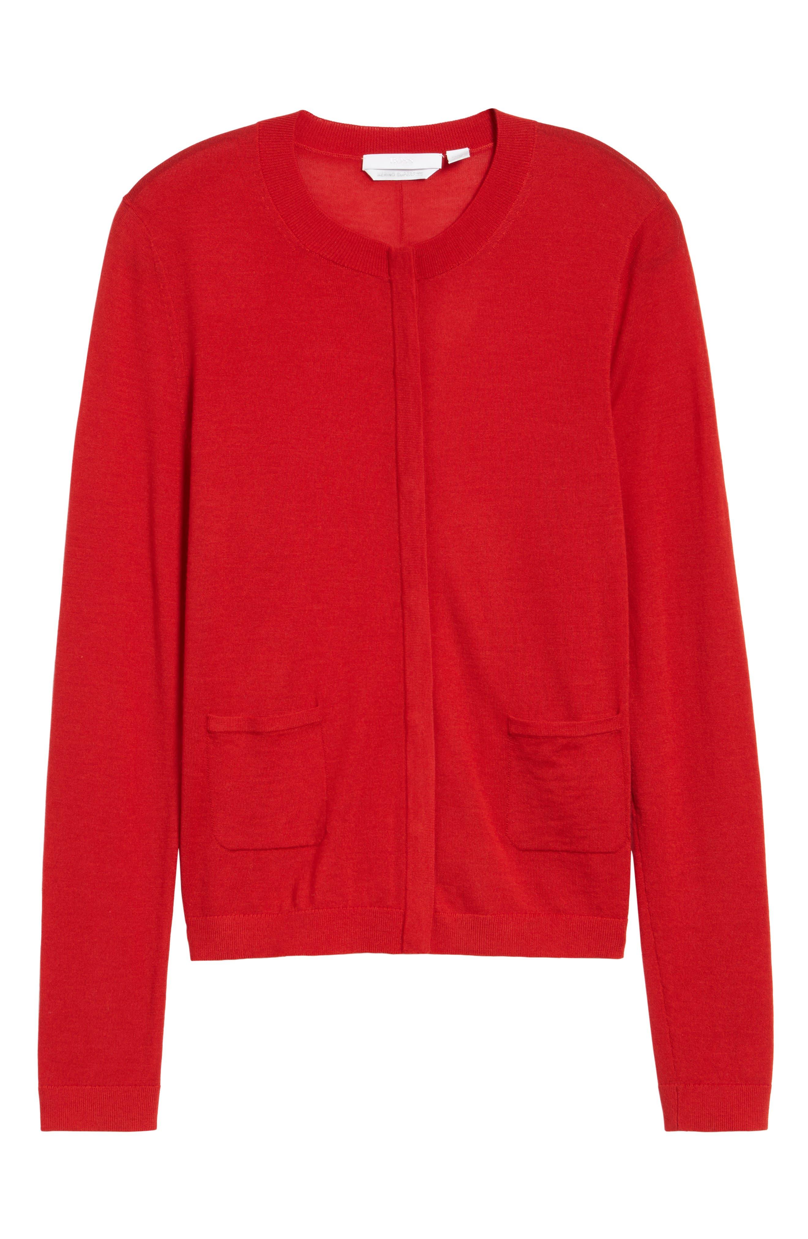 Fuyuma Wool Cardigan,                             Alternate thumbnail 6, color,                             Crimson Red