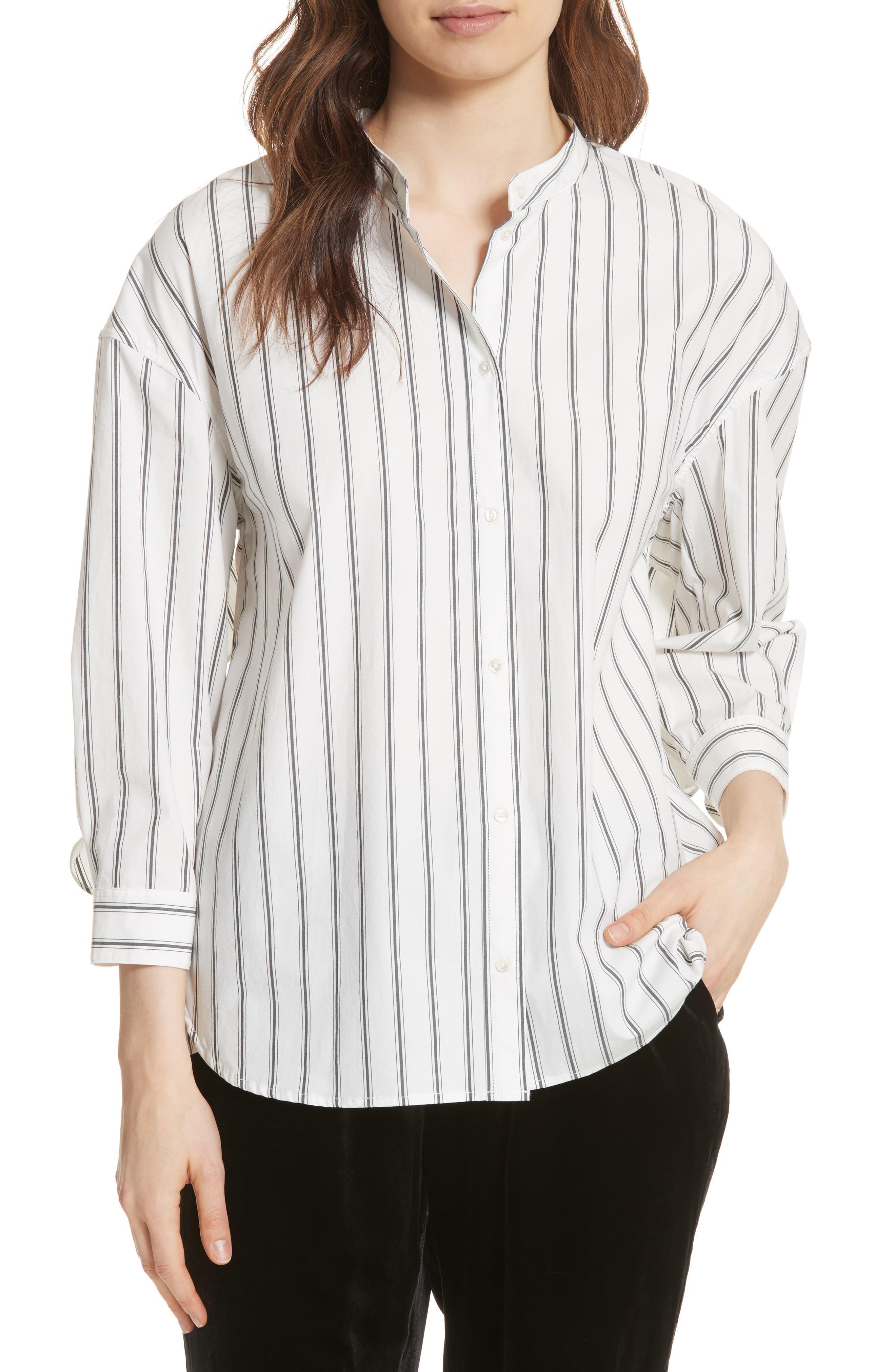 Poni Stripe Shirt,                         Main,                         color, Porcelain