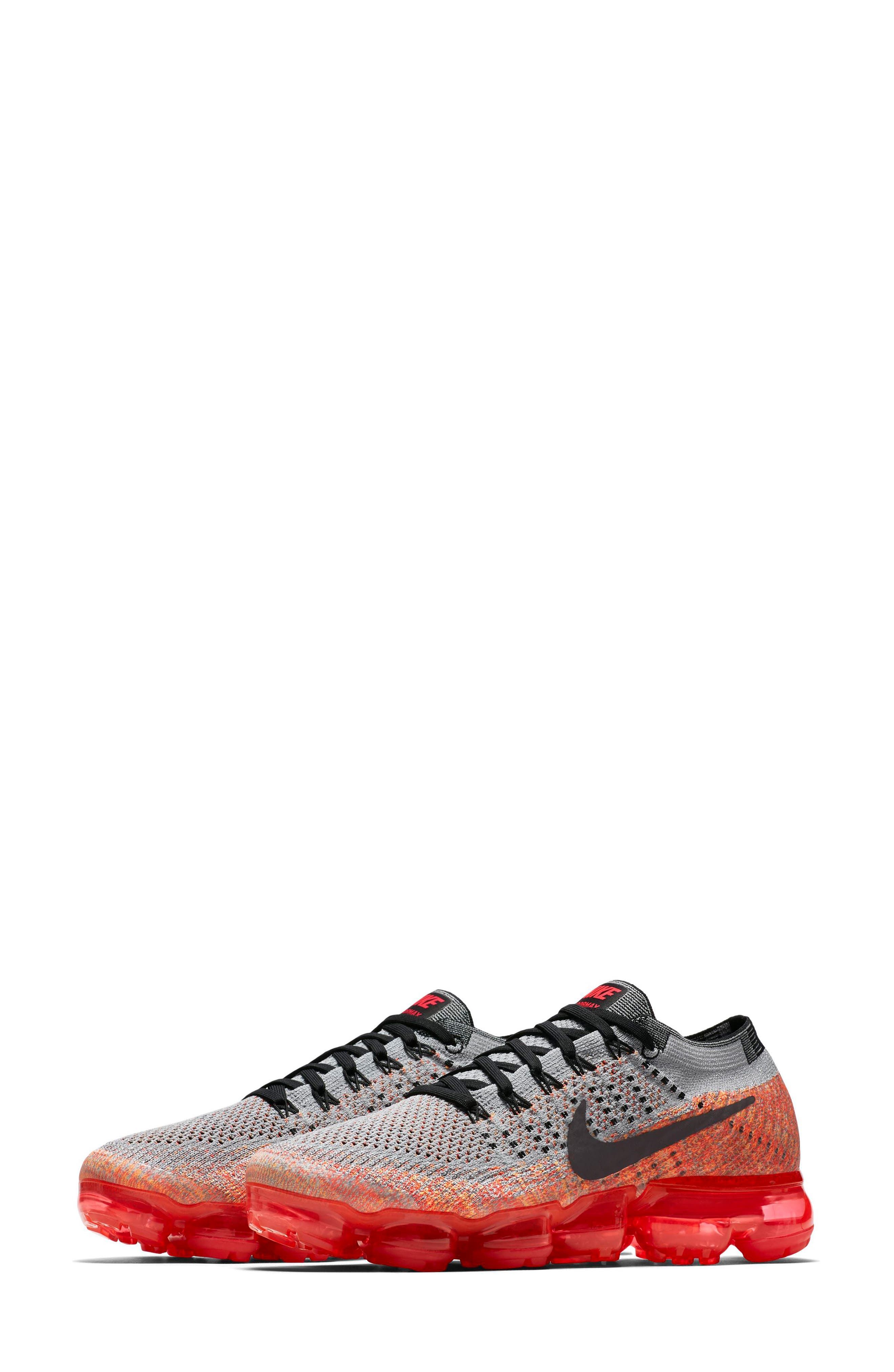 Air VaporMax Flyknit Running Shoe,                             Main thumbnail 1, color,                             Wolf Grey/ Black