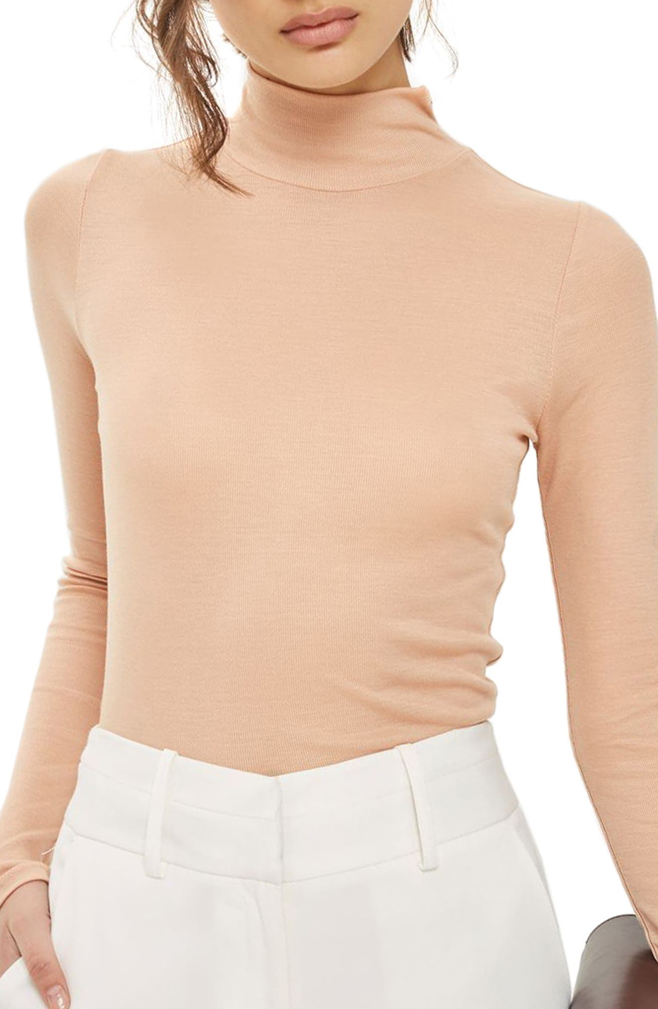 Ribbed Turtleneck Top,                         Main,                         color, Nude