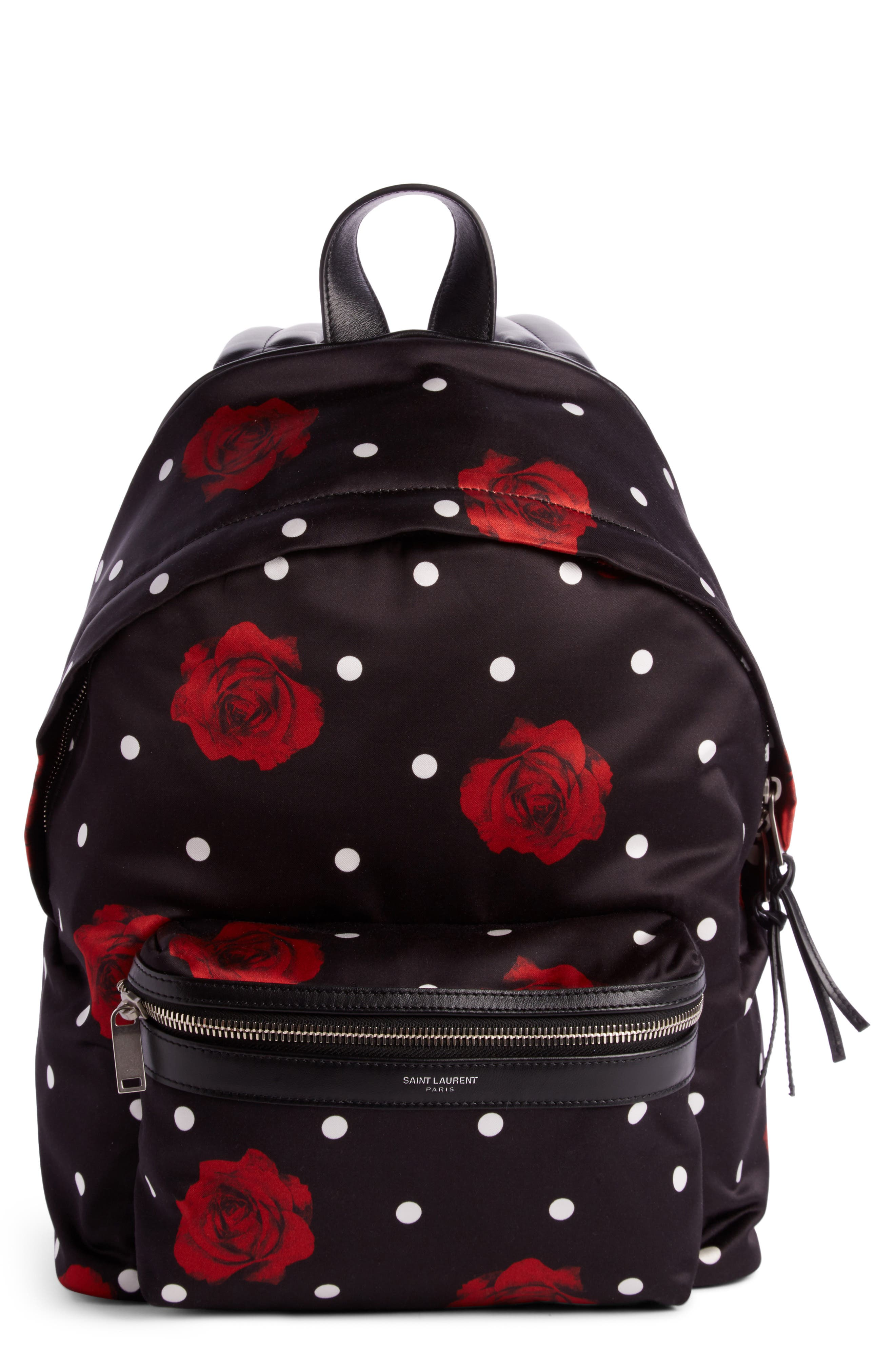 City Mini Rose Print Satin Backpack,                         Main,                         color, Noir