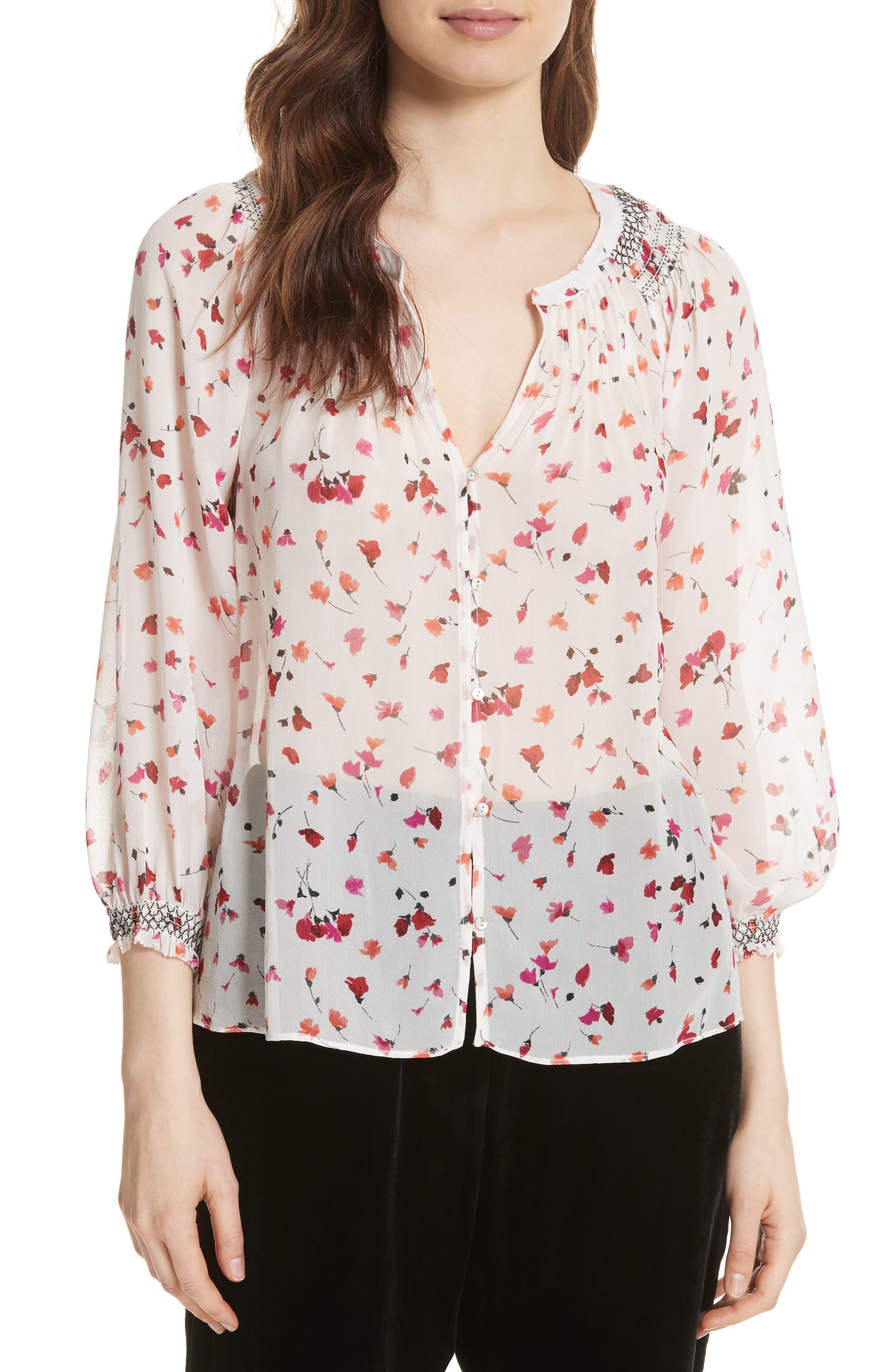 Gontilda Floral Silk Blouse,                             Main thumbnail 1, color,                             Porcelain