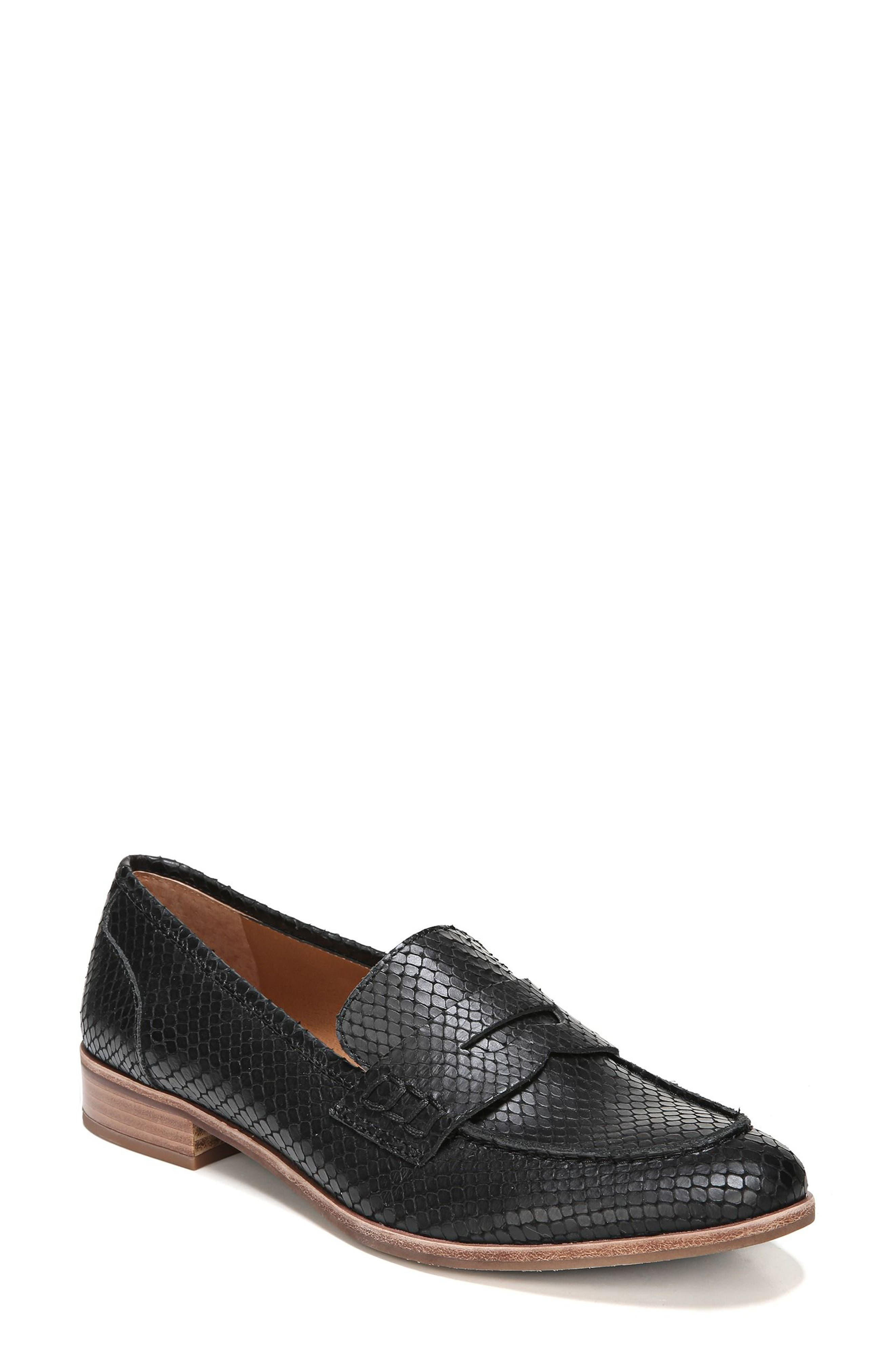 'Jolette' Penny Loafer,                             Main thumbnail 1, color,                             Black Printed Leather
