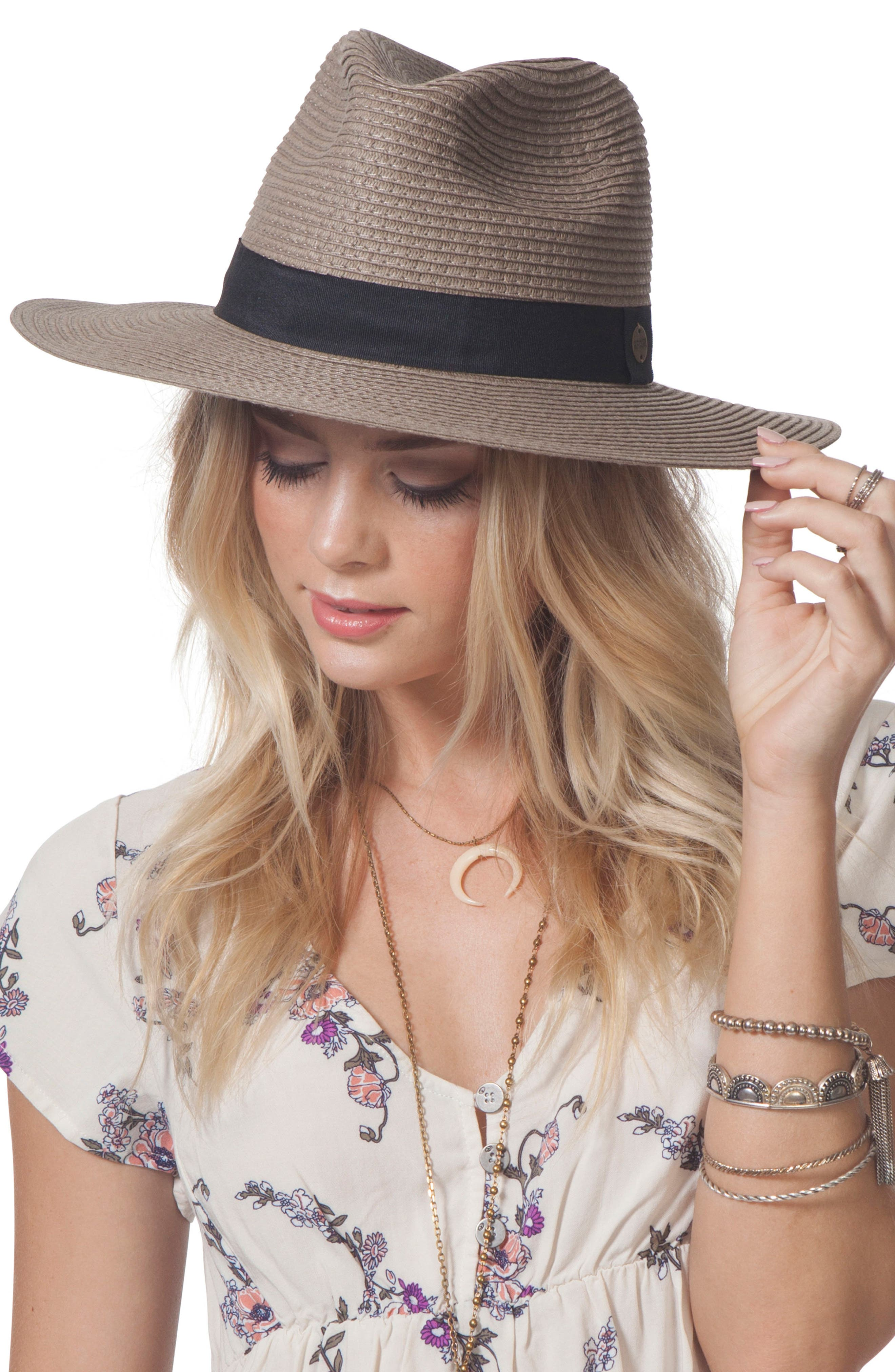 Dakota Panama Hat,                             Main thumbnail 1, color,                             Fossil