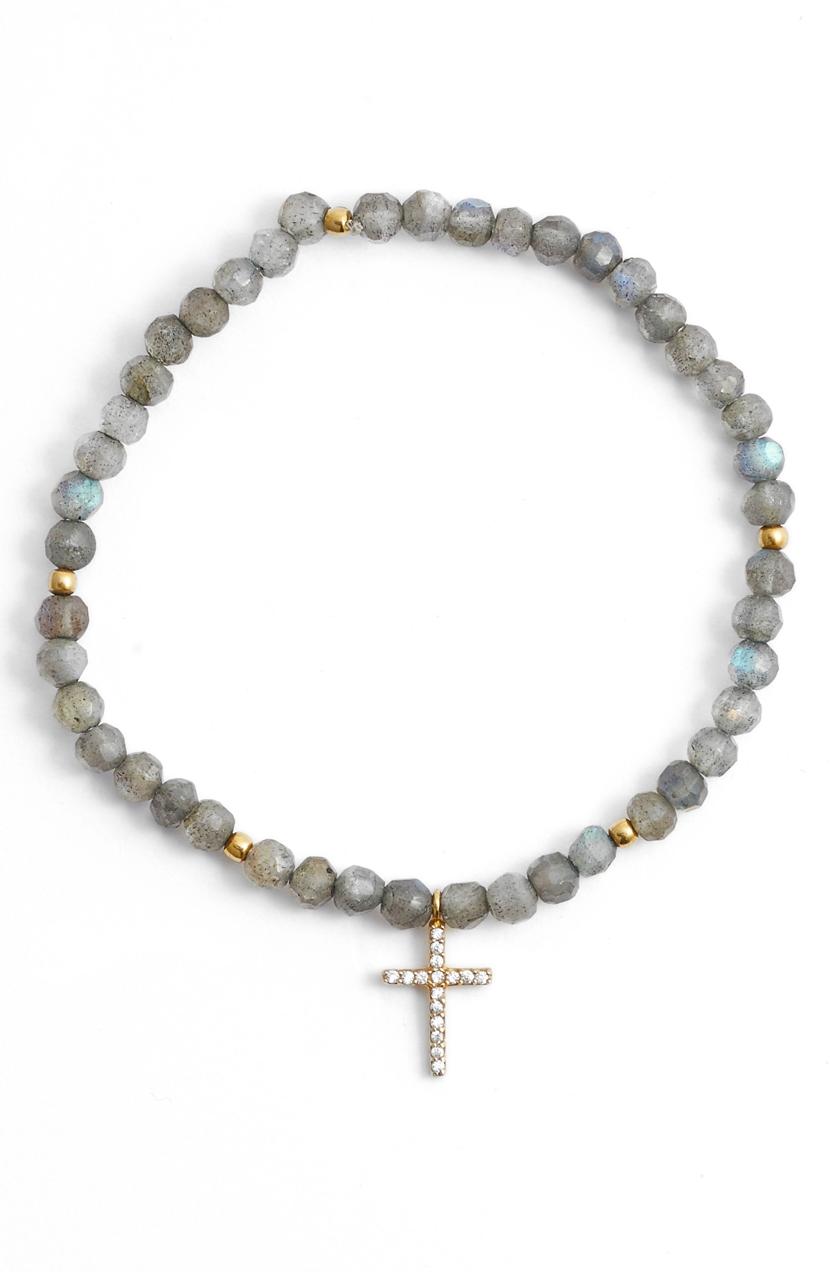 Argento Vivo Pavé Disc Beaded Stretch Bracelet