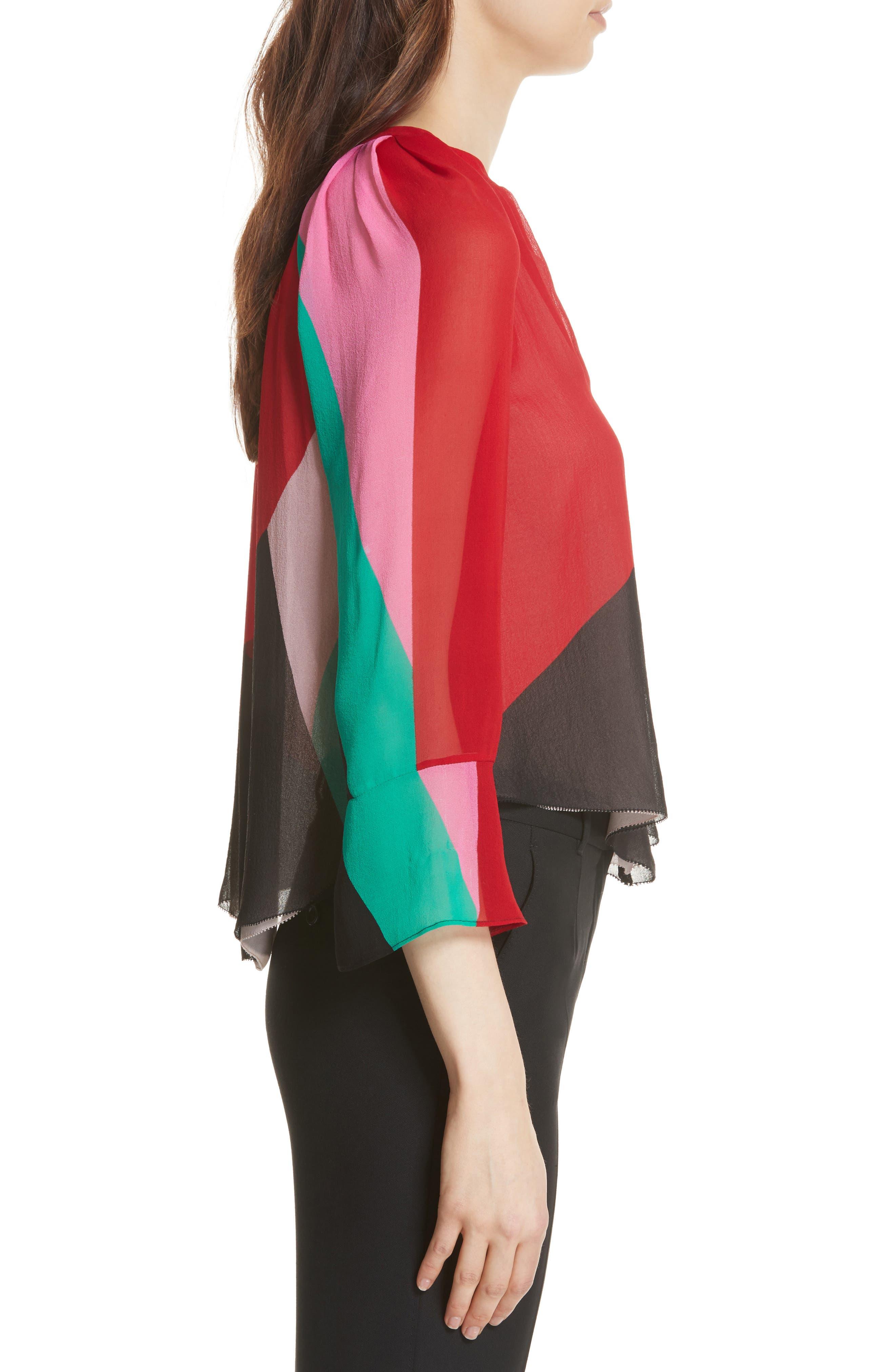 Quinlynn Colorblock Silk Top,                             Alternate thumbnail 3, color,                             Multi