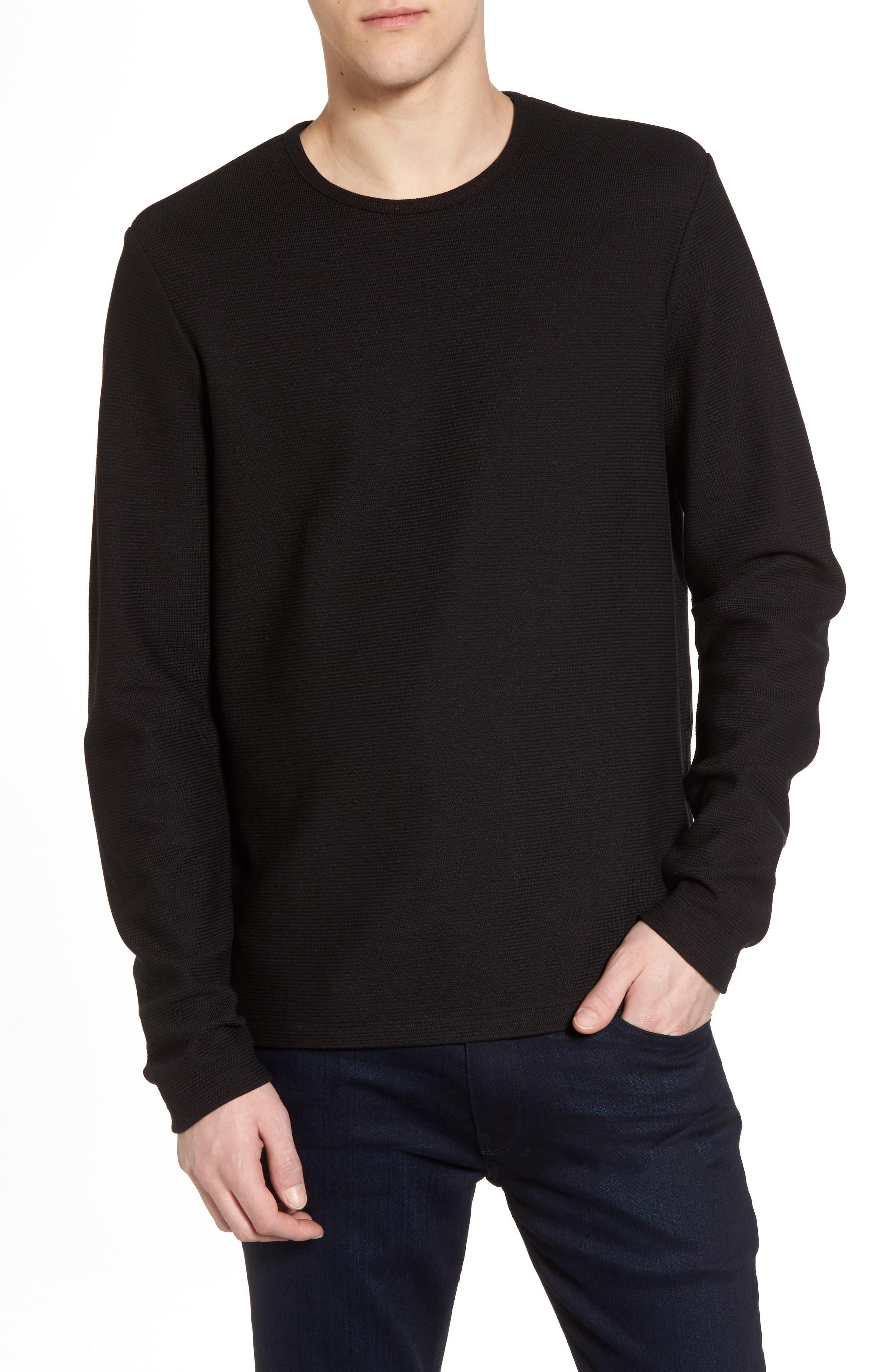 Side Zip Thermal Sweatshirt,                             Main thumbnail 1, color,                             Black