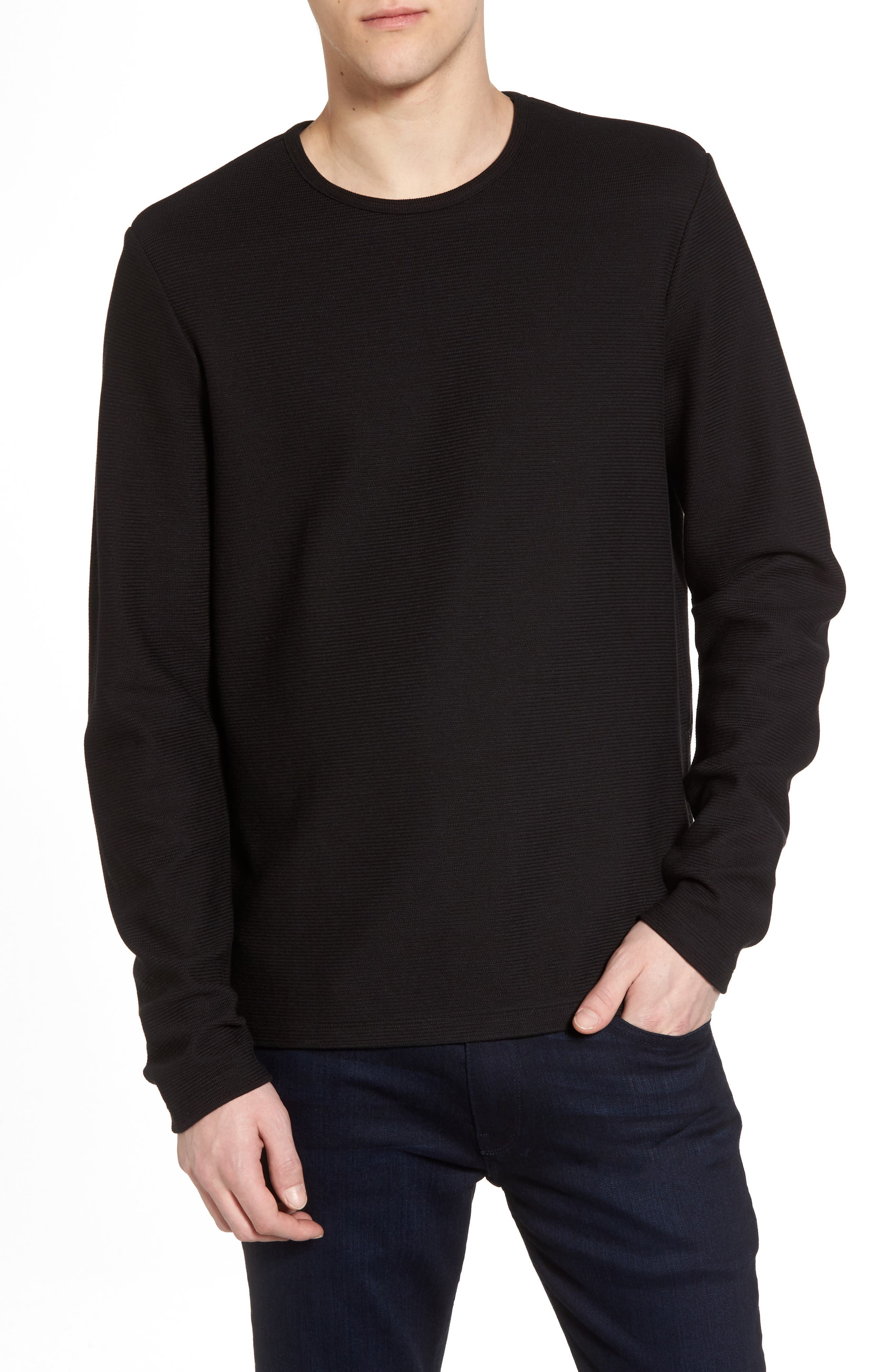 Side Zip Thermal Sweatshirt,                         Main,                         color, Black