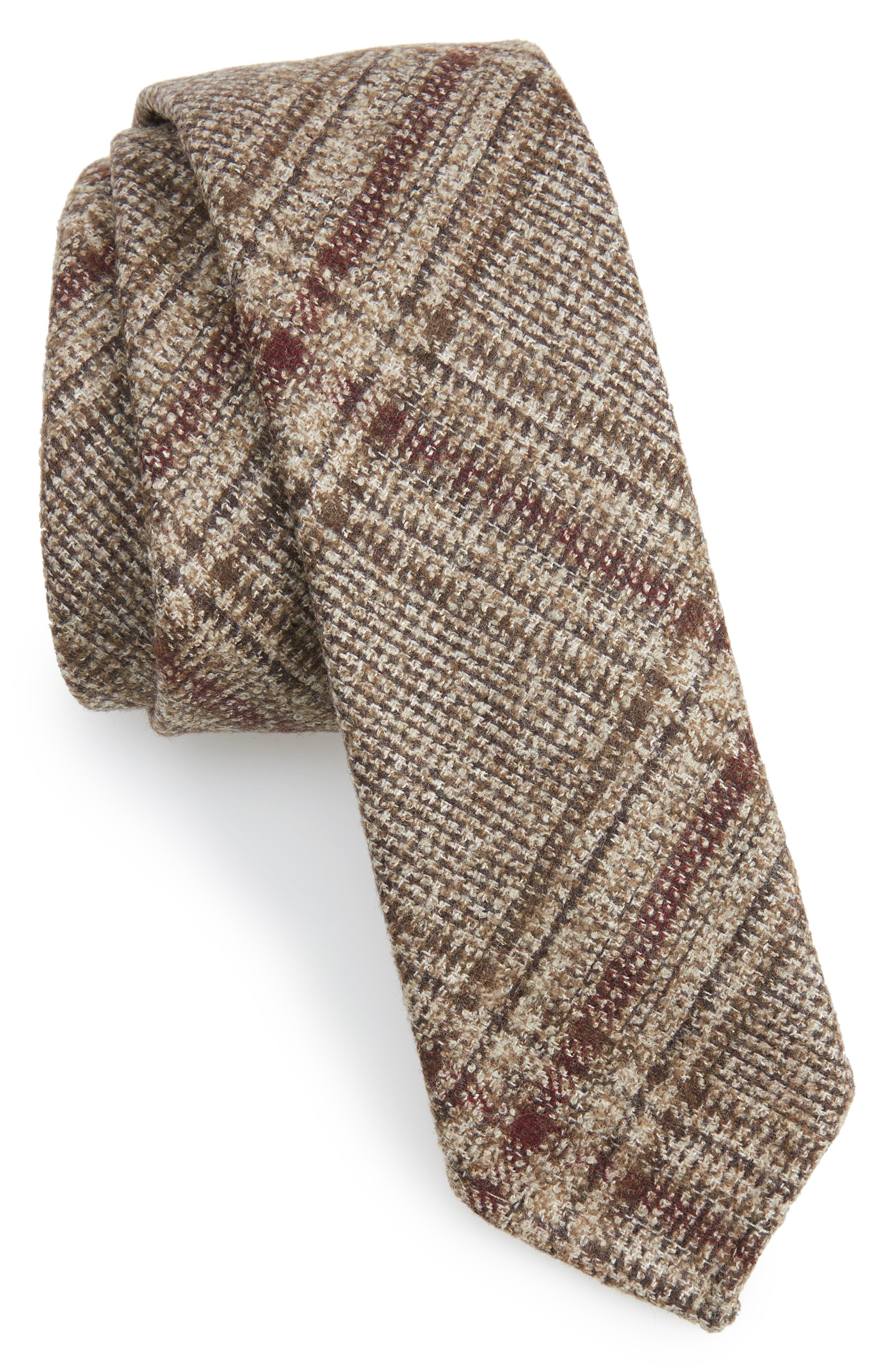 Glencheck Wool Blend Skinny Tie,                         Main,                         color, Dark Beige