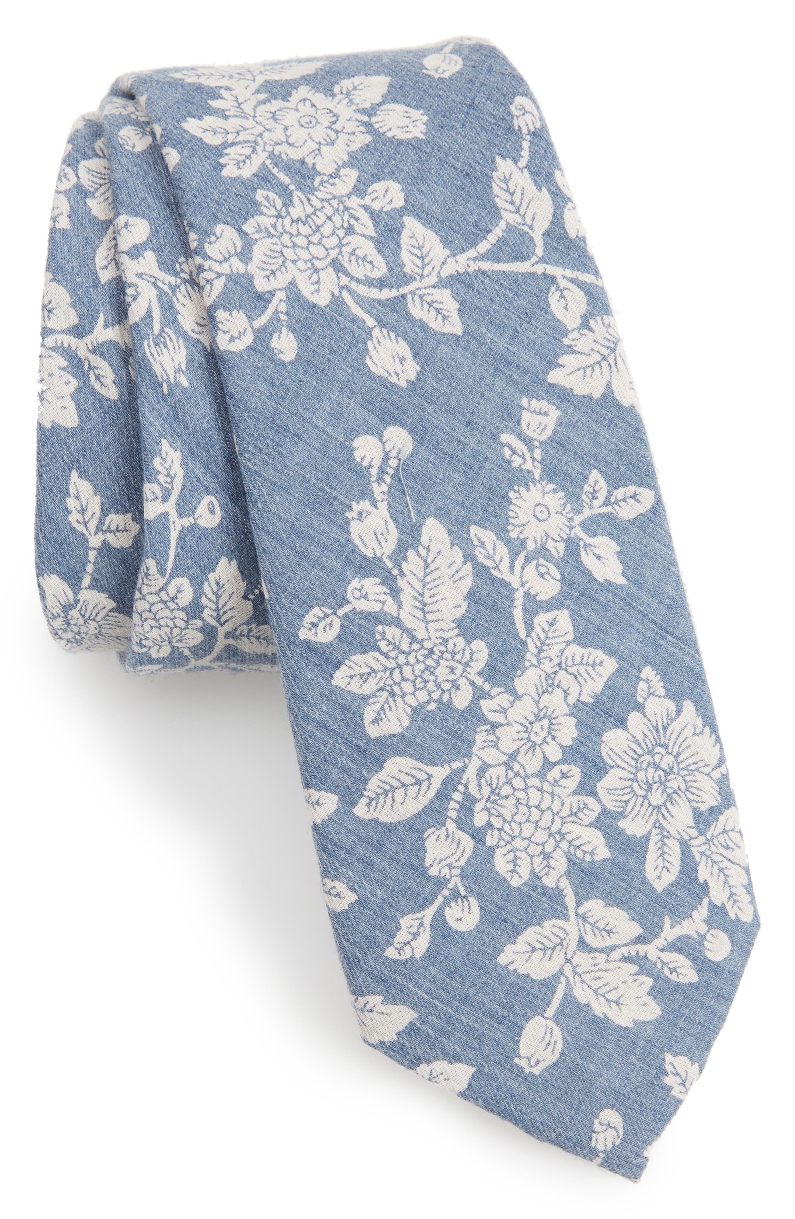 Floral Cotton Skinny Tie,                             Main thumbnail 1, color,                             Blue1