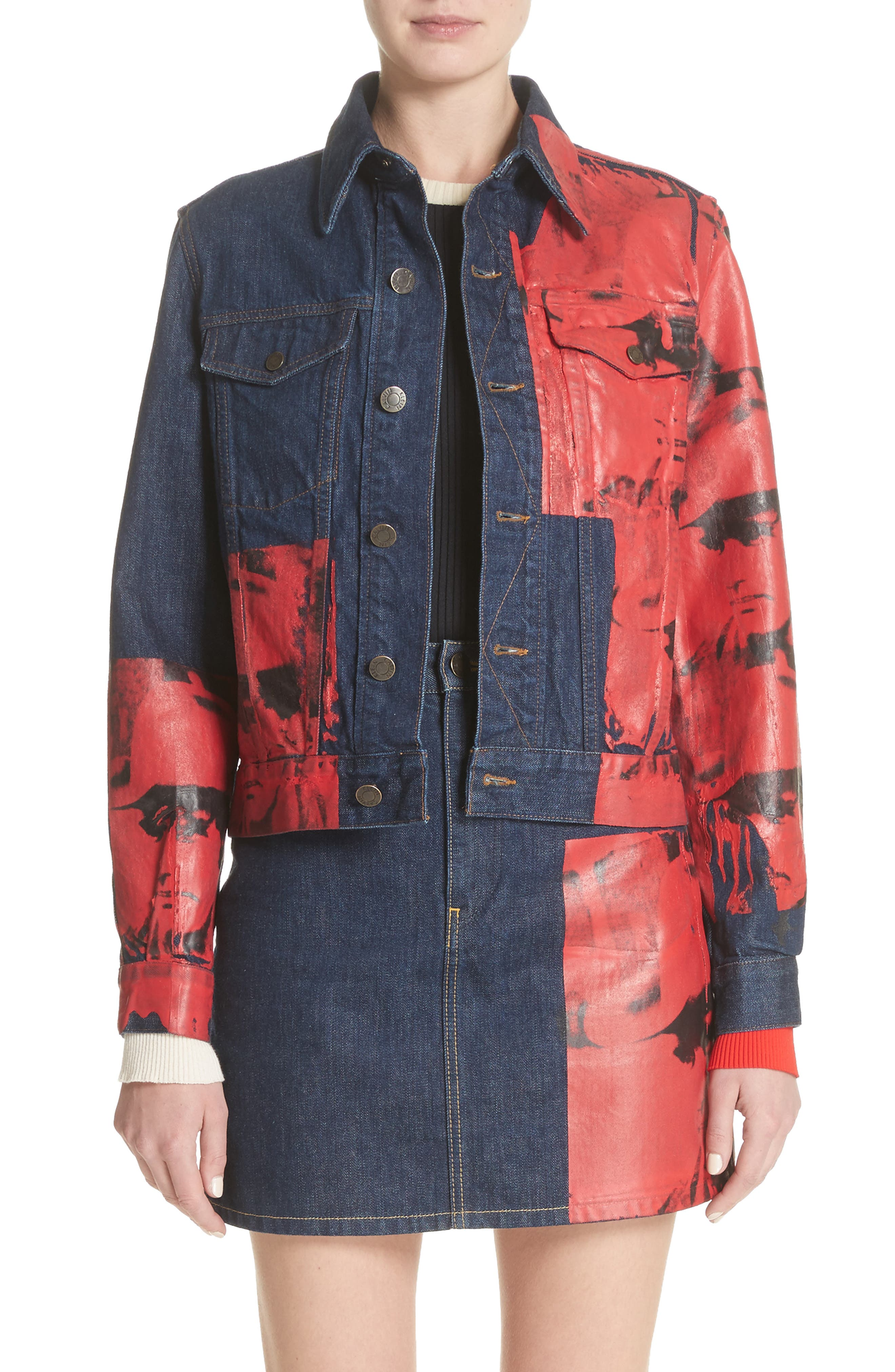x Andy Warhol Foundation Dennis Hopper Denim Jacket,                             Main thumbnail 1, color,                             Blue Molten Lava