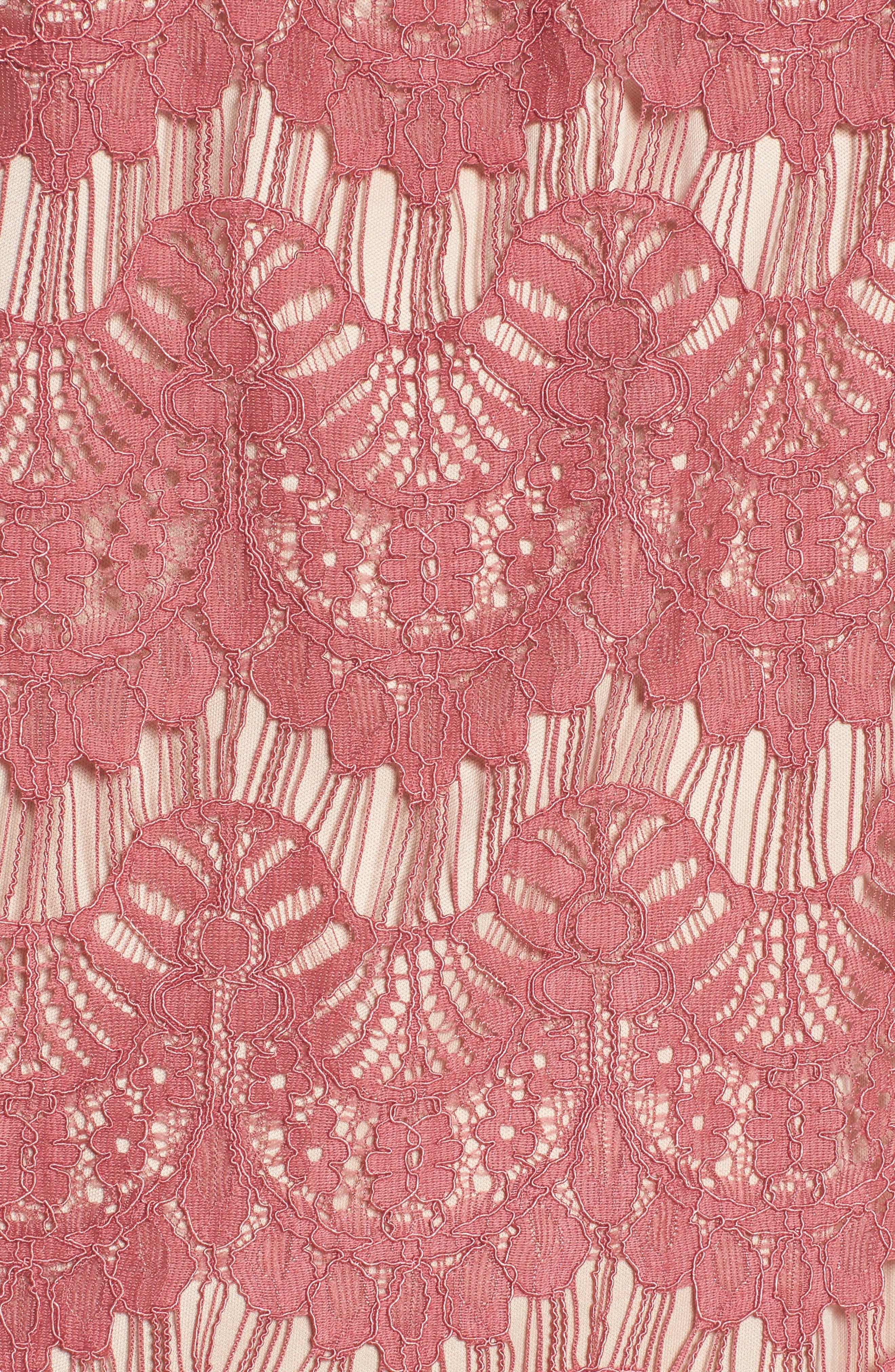 Lace Shift Dress,                             Alternate thumbnail 5, color,                             Mauve/ Nude