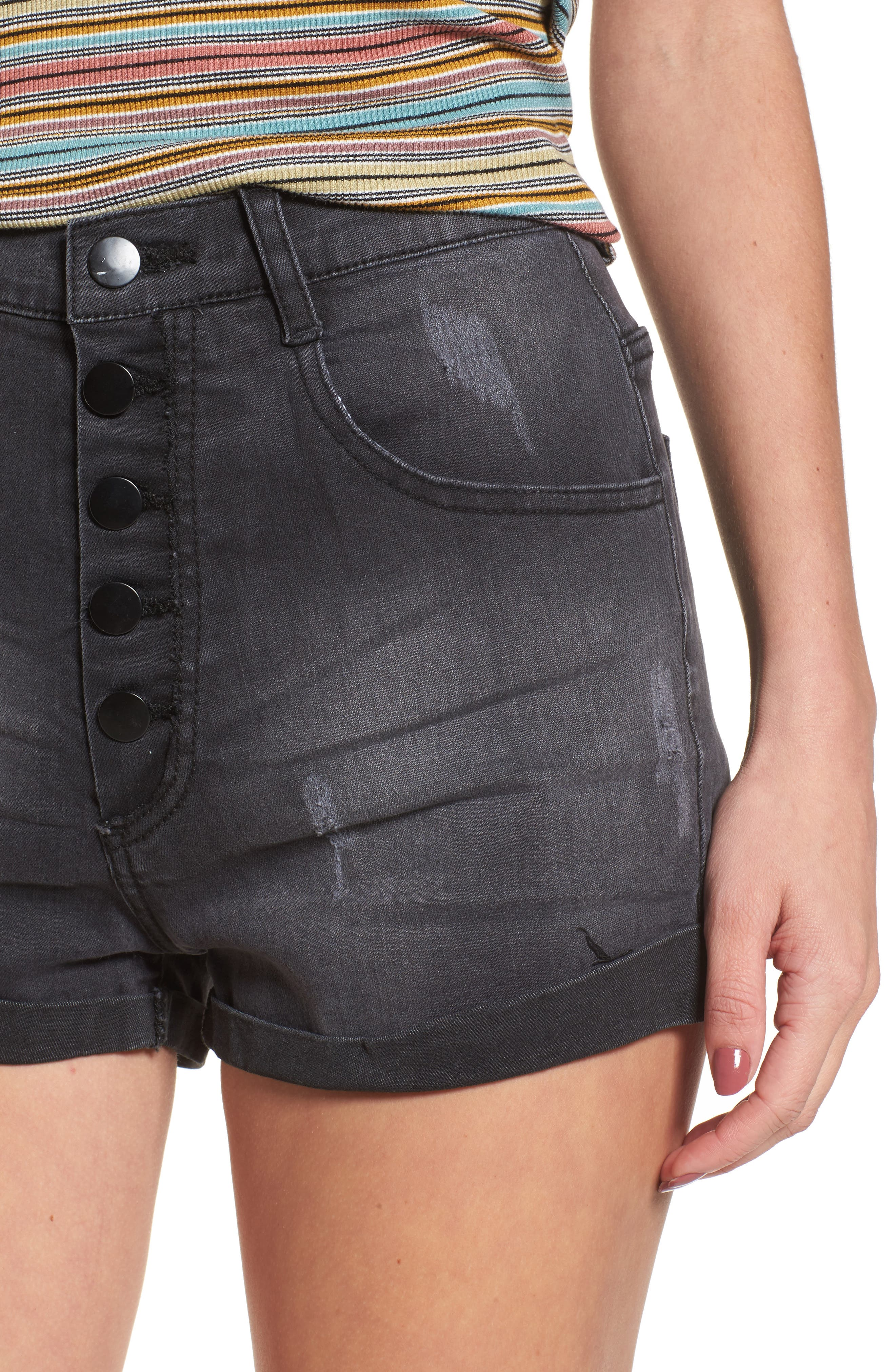 Alternate Image 4  - Lira Clothing Rachel High Waisted Denim Shorts