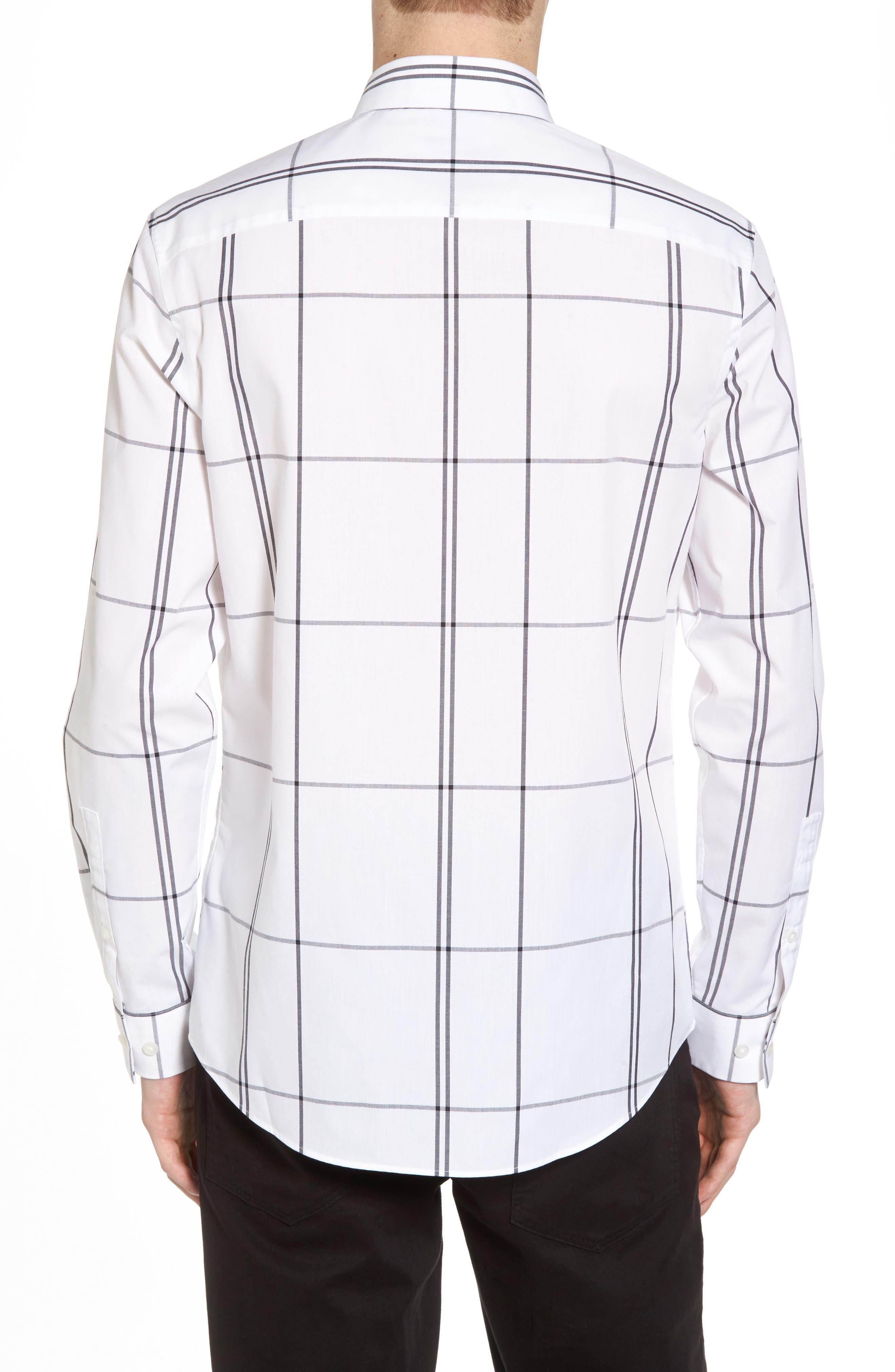 Windowpane Sport Shirt,                             Alternate thumbnail 3, color,                             White Exploded Plaid