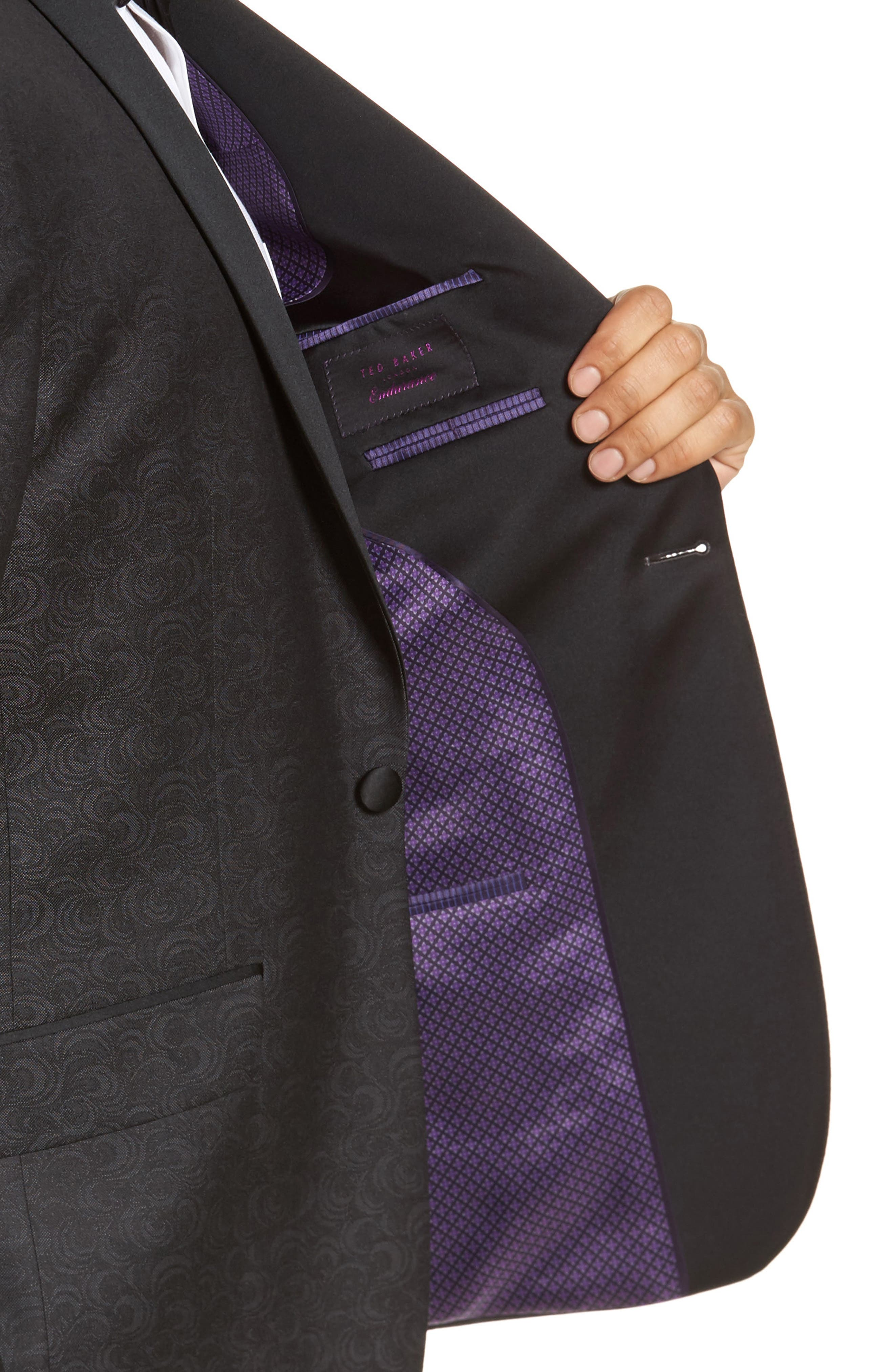 Josh Trim Fit Wool Dinner Jacket,                             Alternate thumbnail 4, color,                             Black