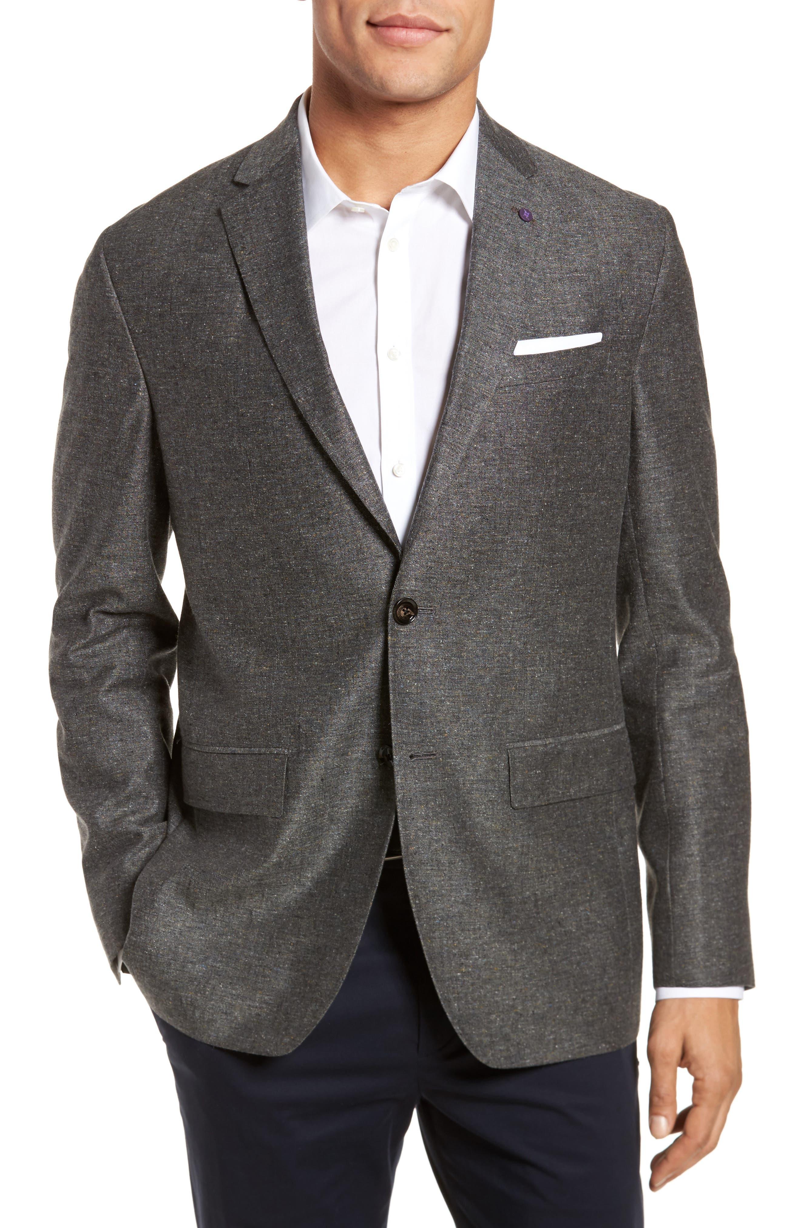 Konan Trim Fit Silk & Linen Blazer,                             Main thumbnail 1, color,                             Grey