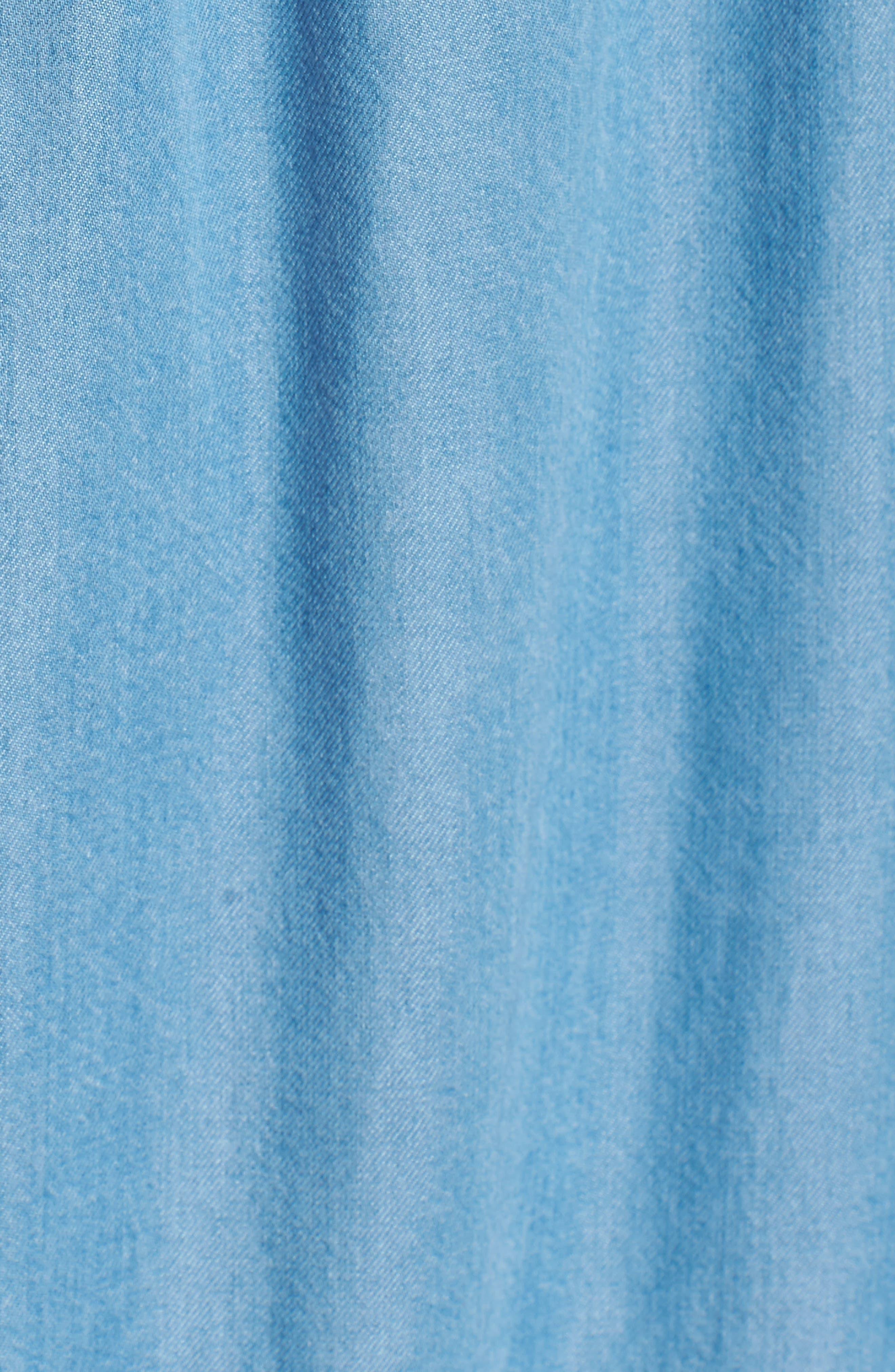 Blouson Off the Shoulder Shift Dress,                             Alternate thumbnail 5, color,                             Pacific Blue Sky