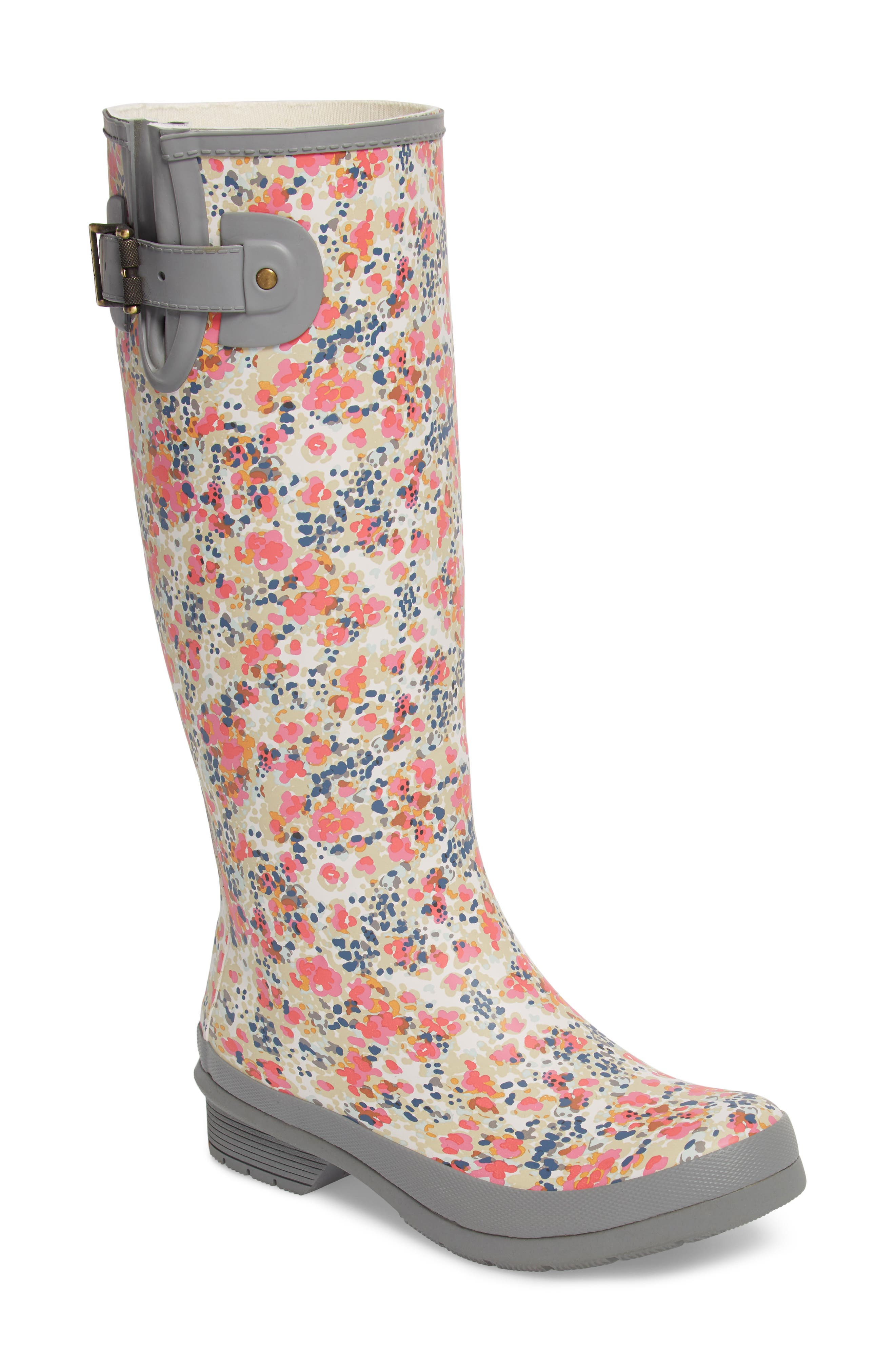 Julia Floral Waterproof Rain Boot,                             Main thumbnail 1, color,                             Gray