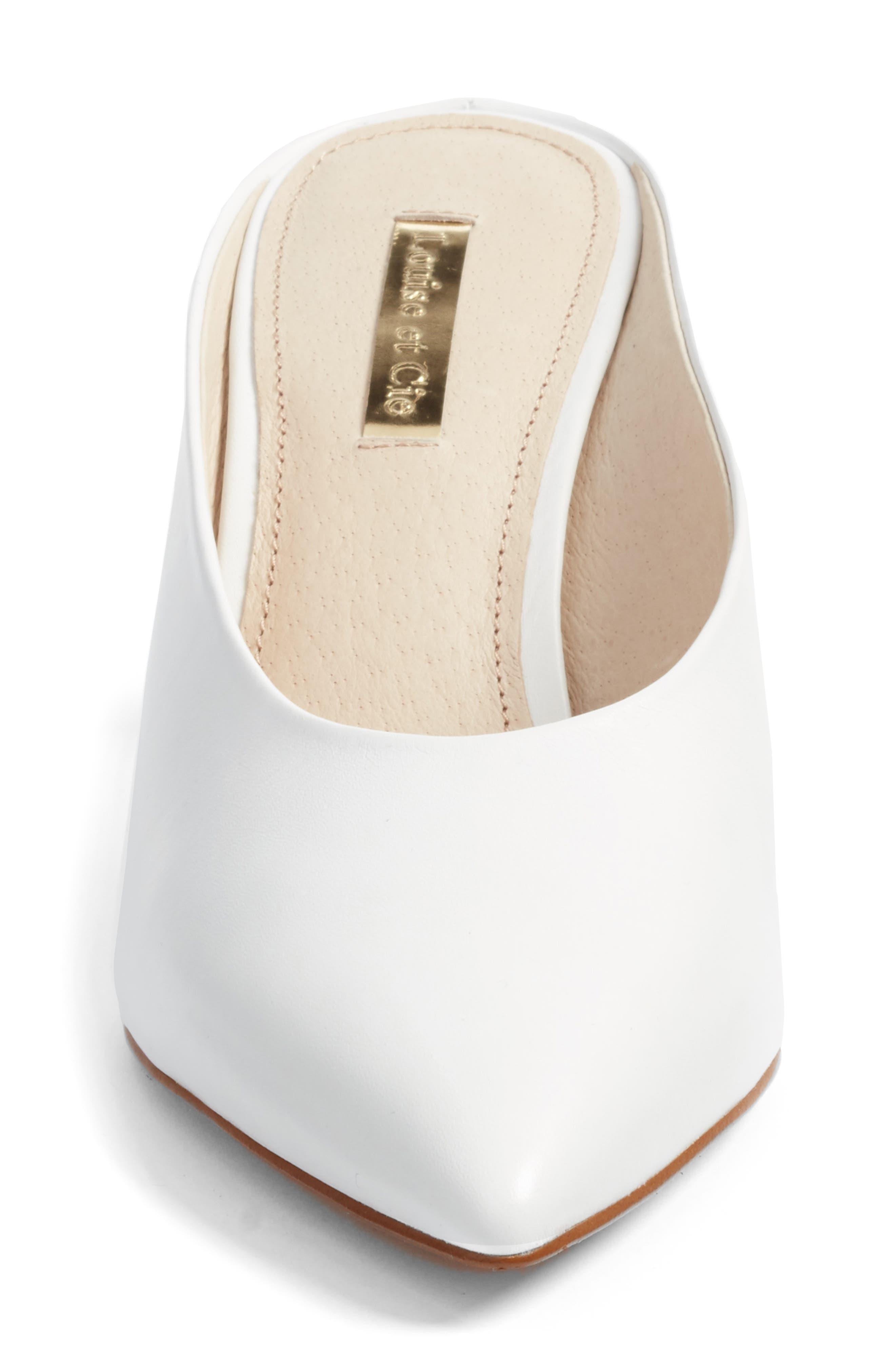 Karas Pointy Toe Slide Pump,                             Alternate thumbnail 4, color,                             White Leather