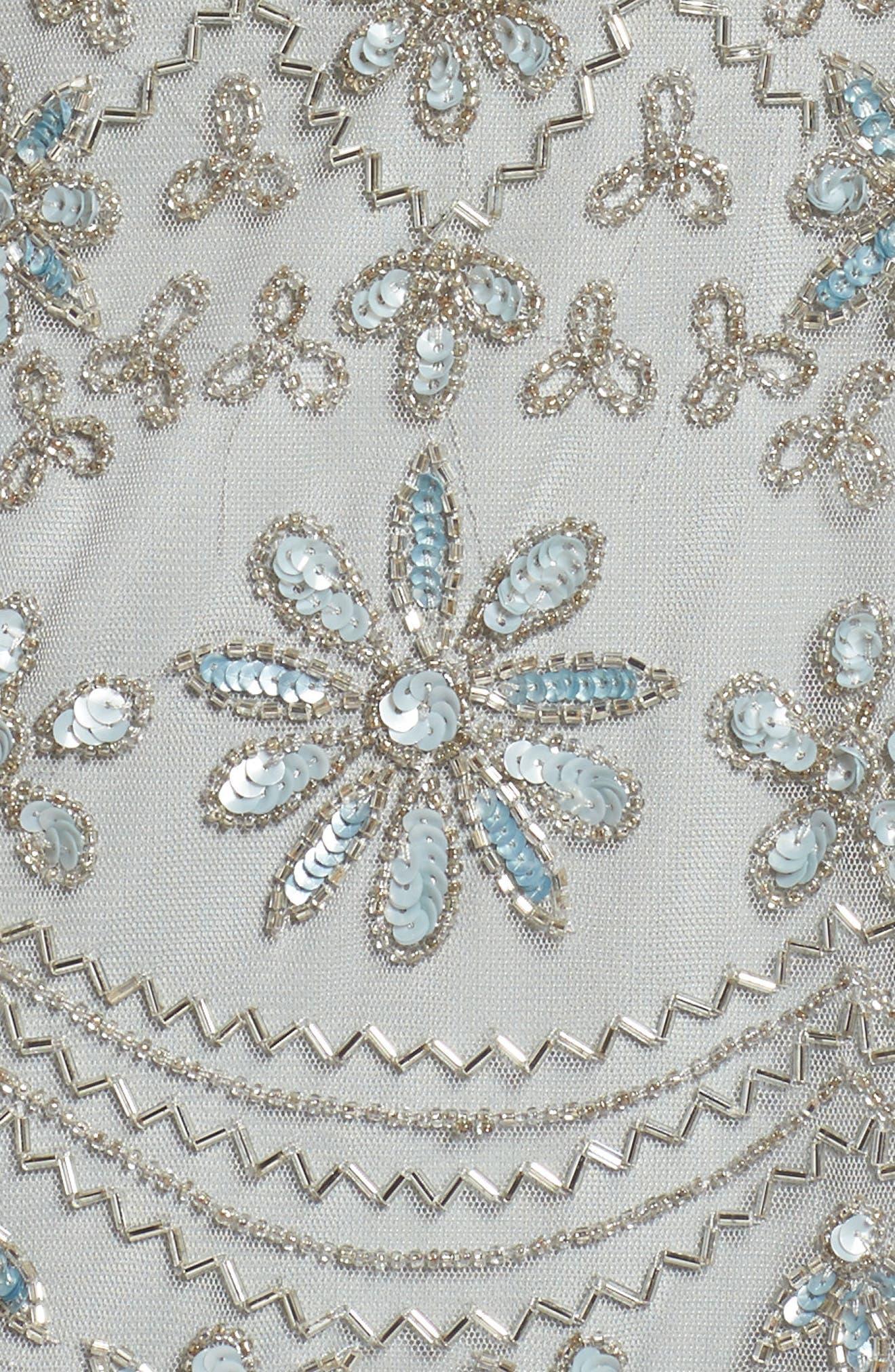 Beaded Mesh Sheath Dress,                             Alternate thumbnail 5, color,                             Blue Mist