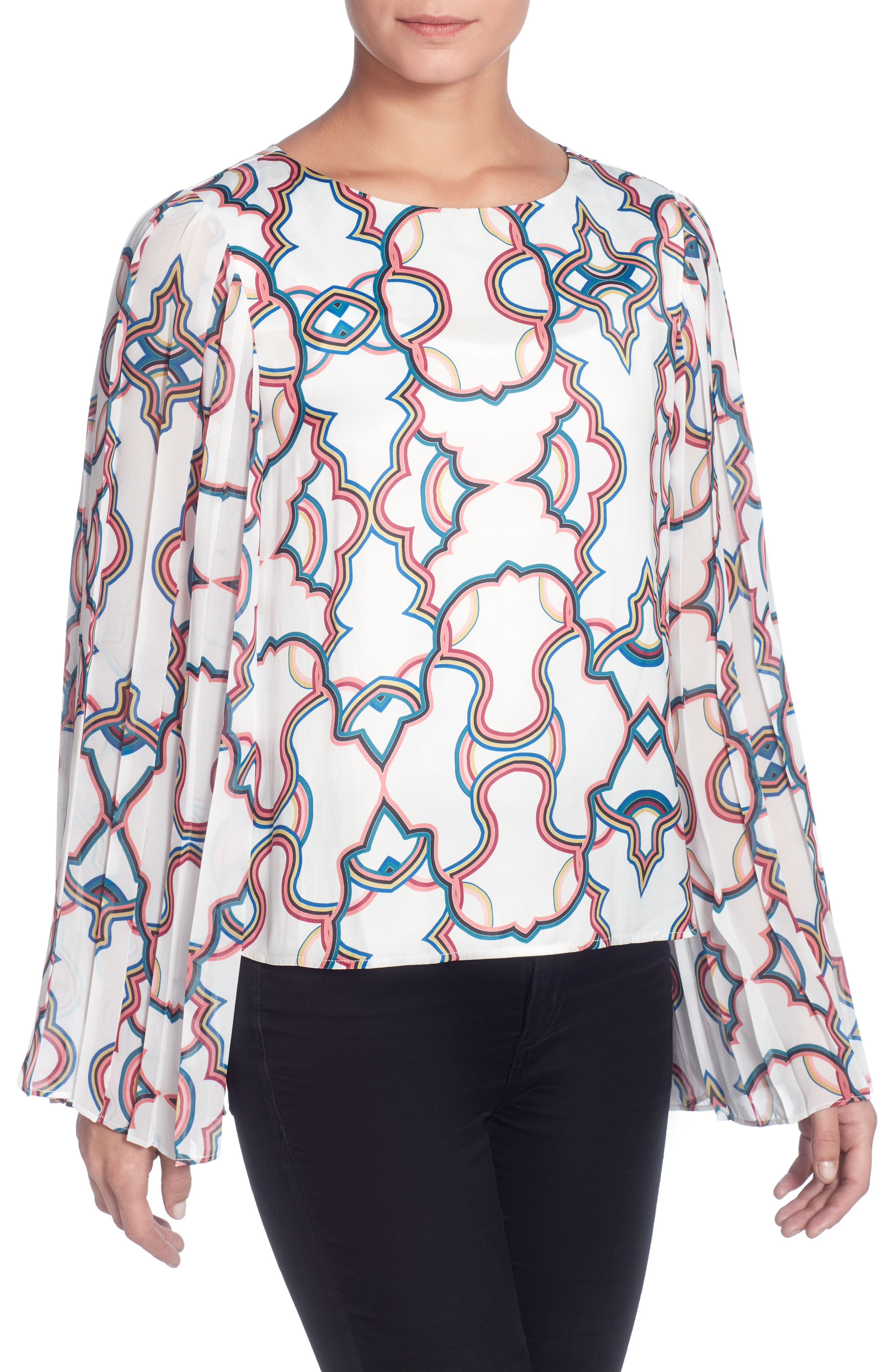 Deni Pleated Sleeve Top,                         Main,                         color, Kaleidoscope White