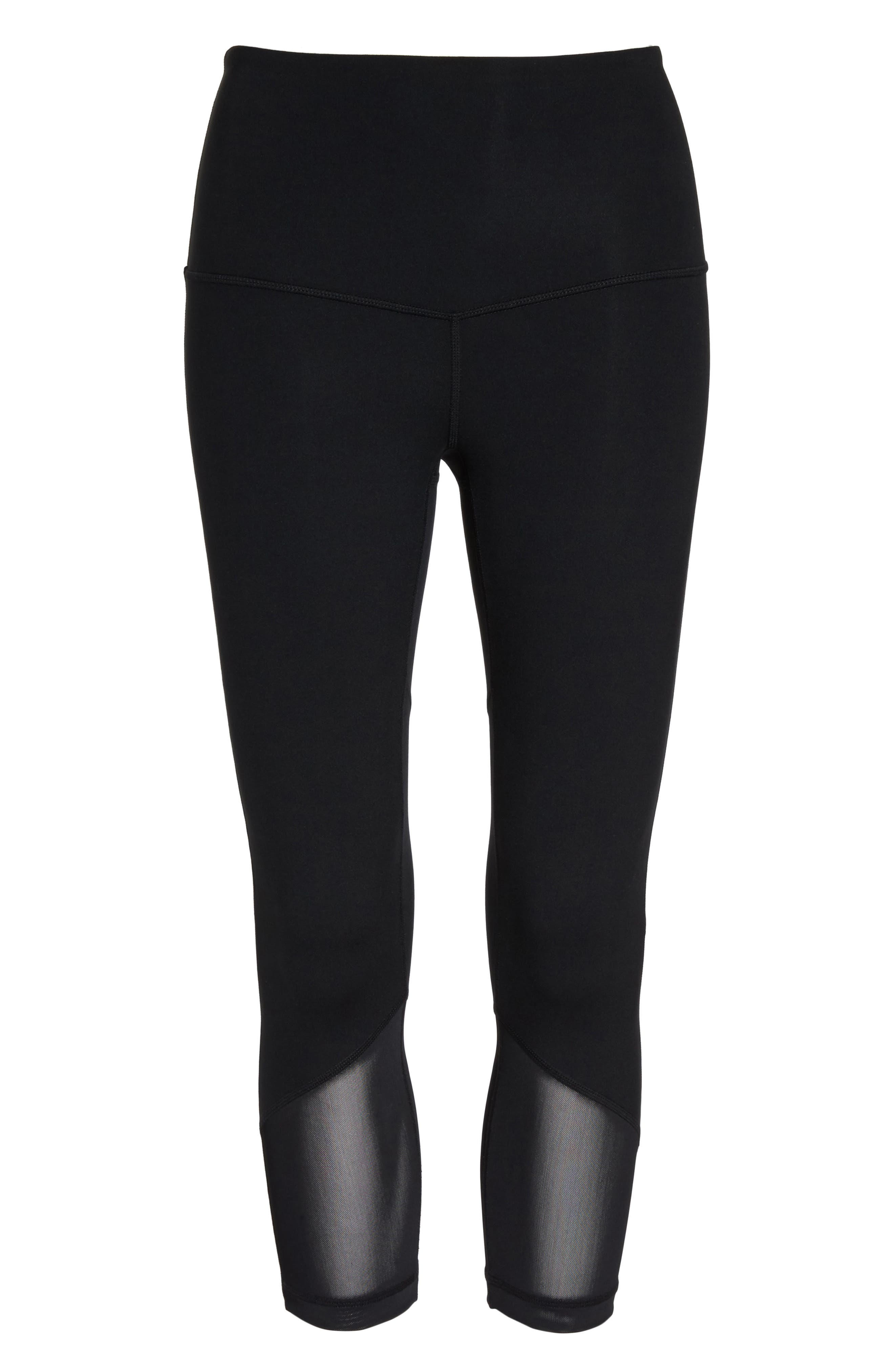 High Waist Gemini Light Crop Leggings,                             Alternate thumbnail 7, color,                             Black