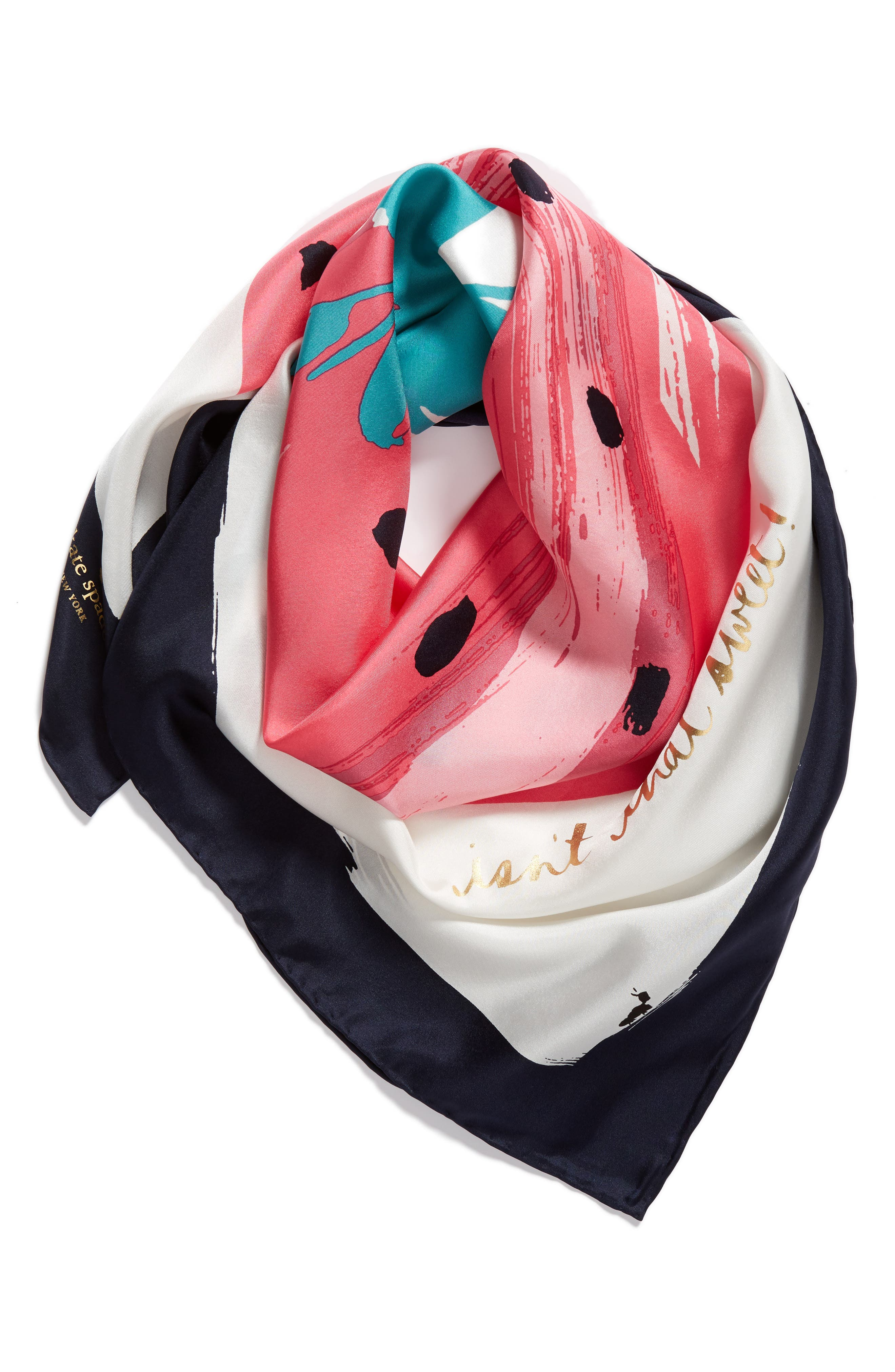 strawberry square silk scarf,                             Alternate thumbnail 3, color,                             Cream