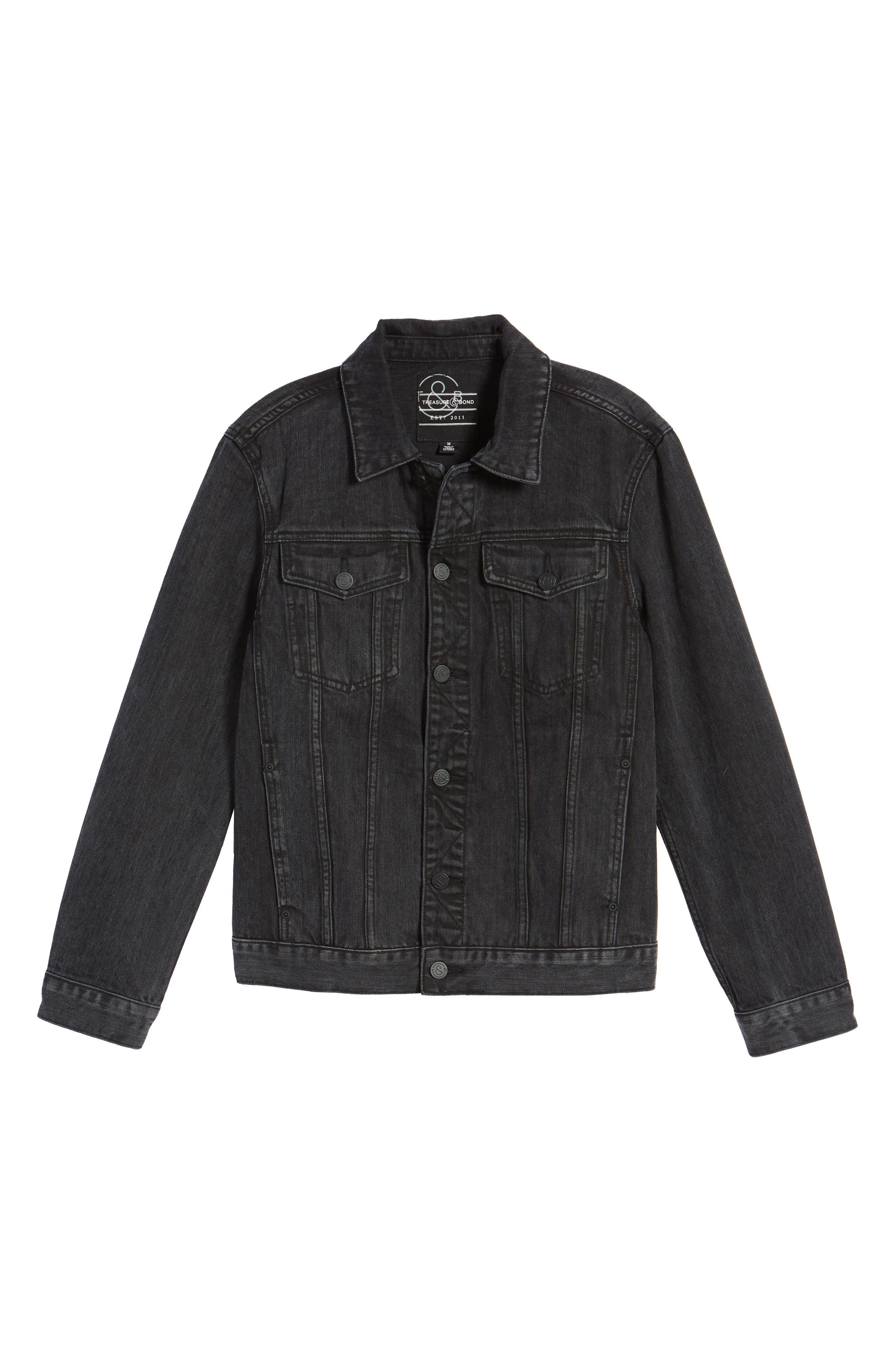 Denim Jacket,                             Alternate thumbnail 6, color,                             Black Wash