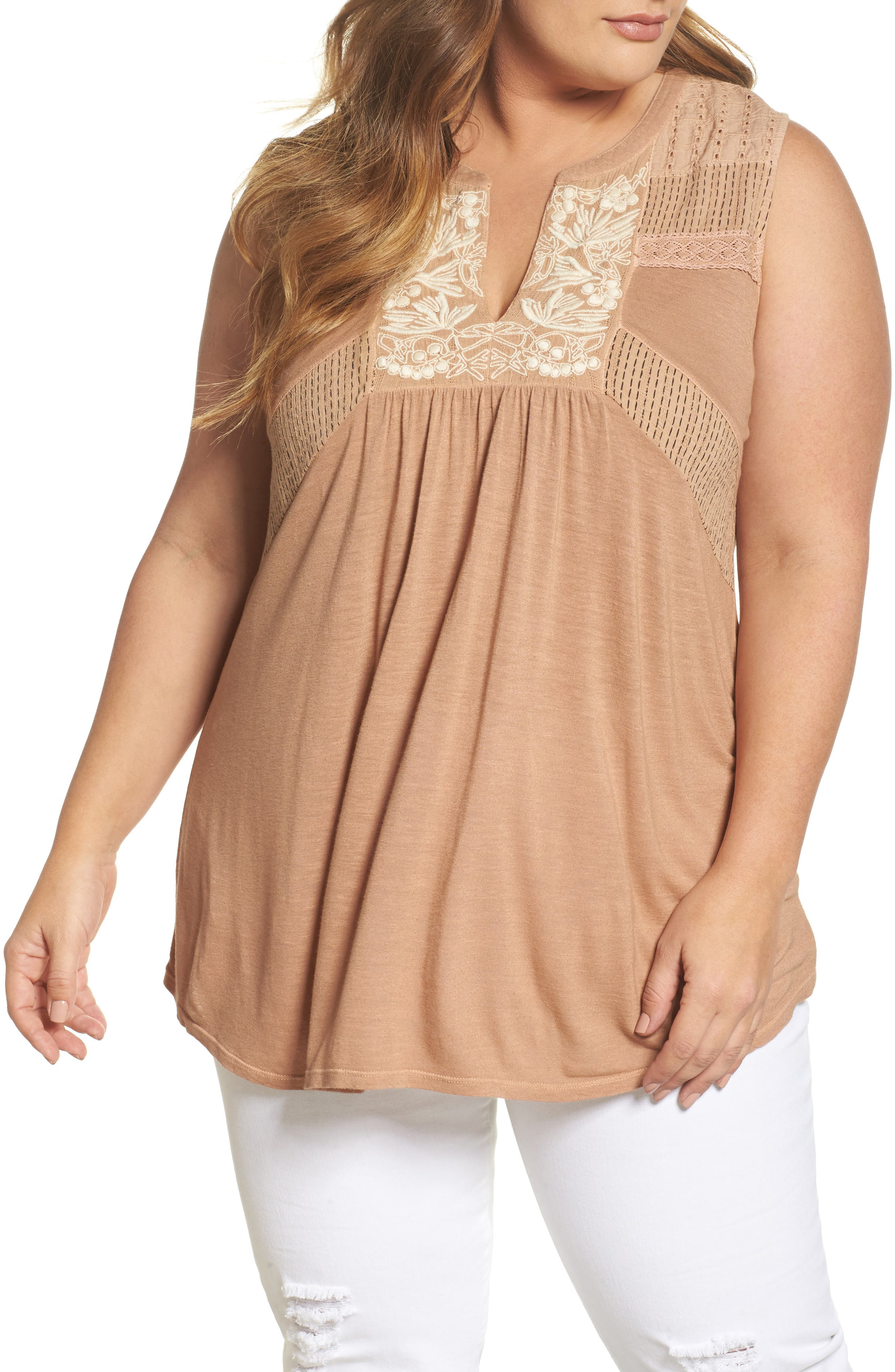 Main Image - Lucky Brand Embroidered Mixed Media Shell (Plus Size)