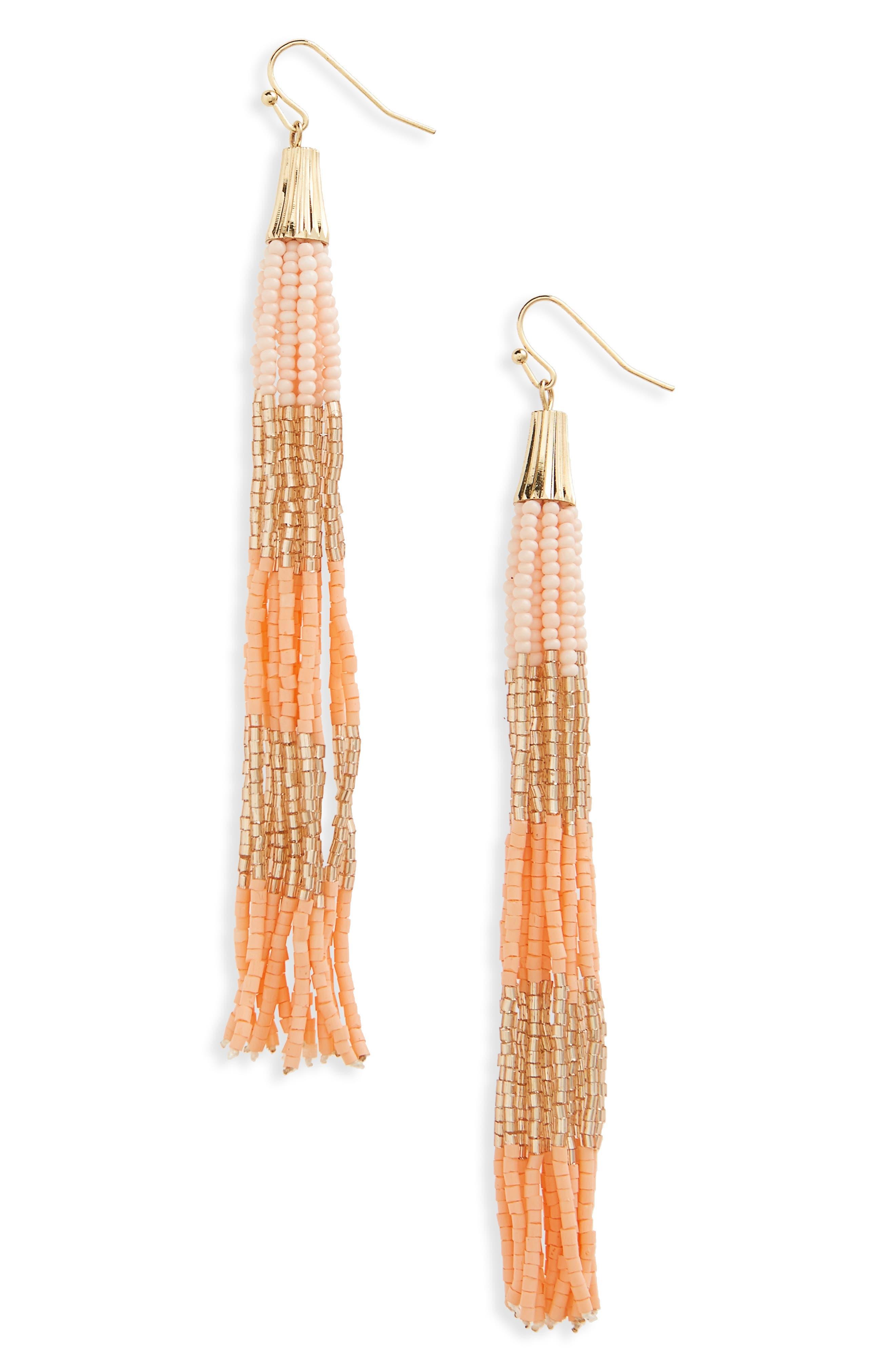 Beaded Tassel Earrings,                         Main,                         color, Coral