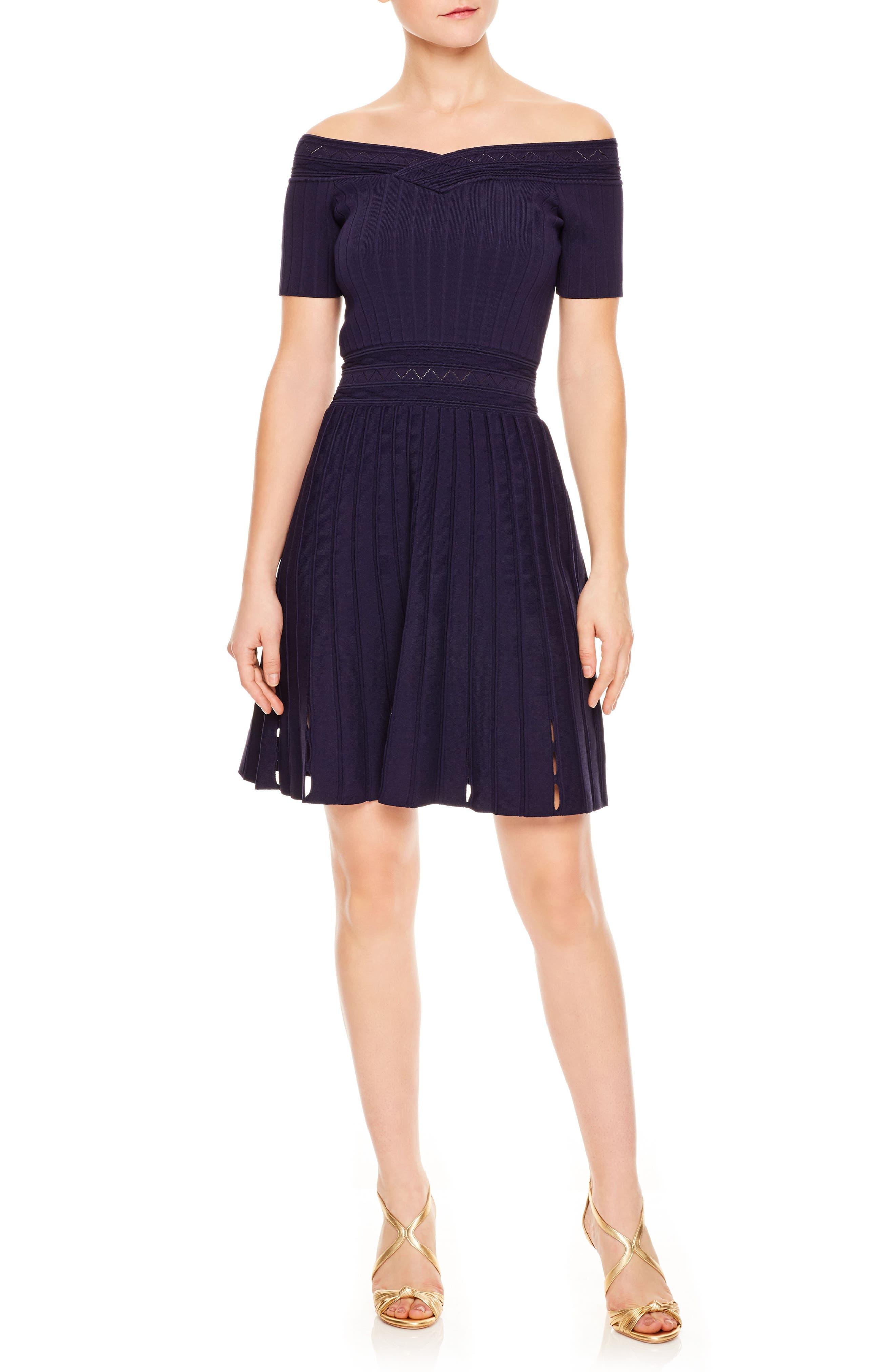 Off the Shoulder Textured Fit & Flare Dress,                         Main,                         color, Navy Blue