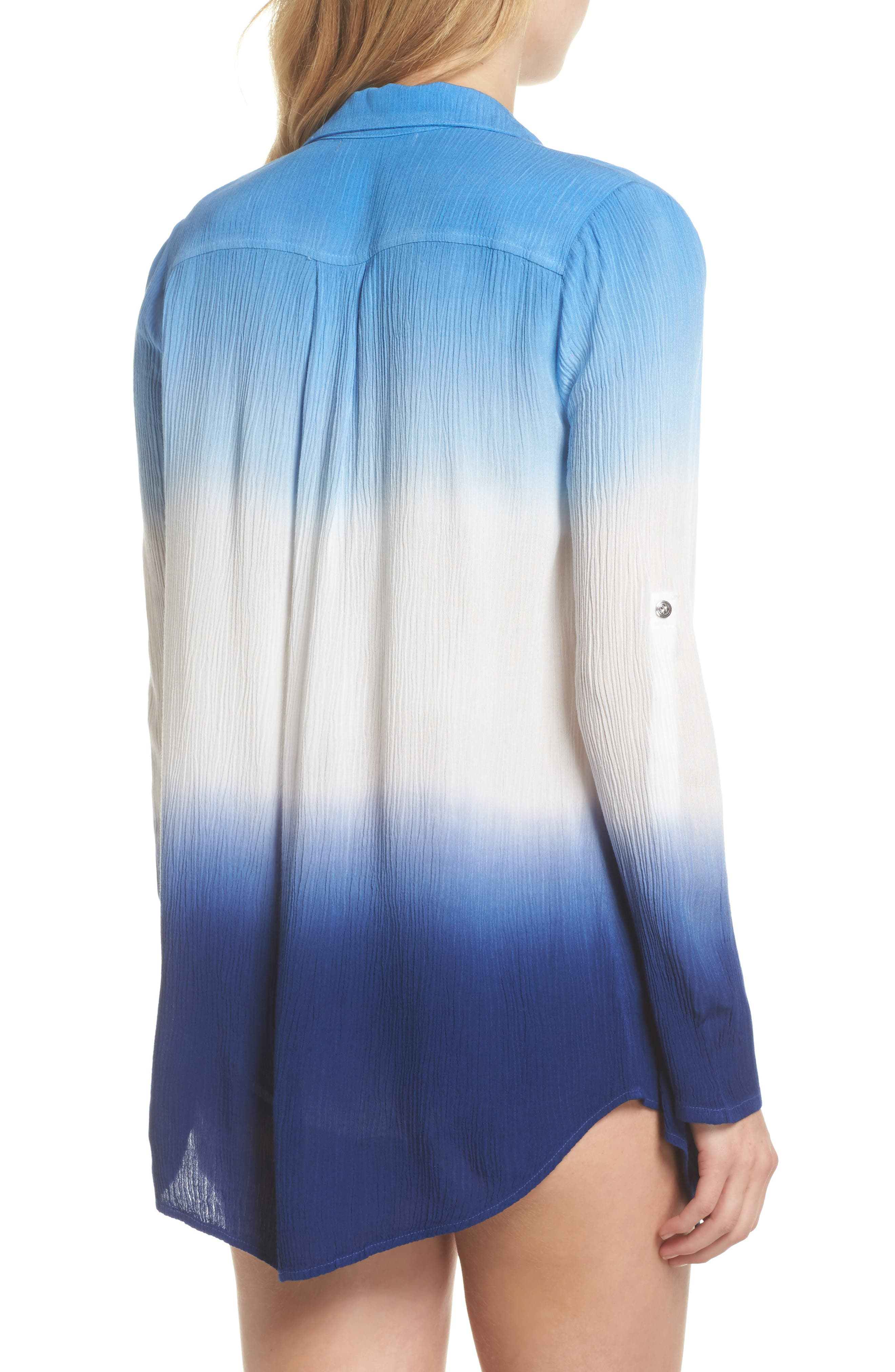 Big Sur Dip Dyed Cover-Up Boyfriend Shirt,                             Alternate thumbnail 2, color,                             Indigo