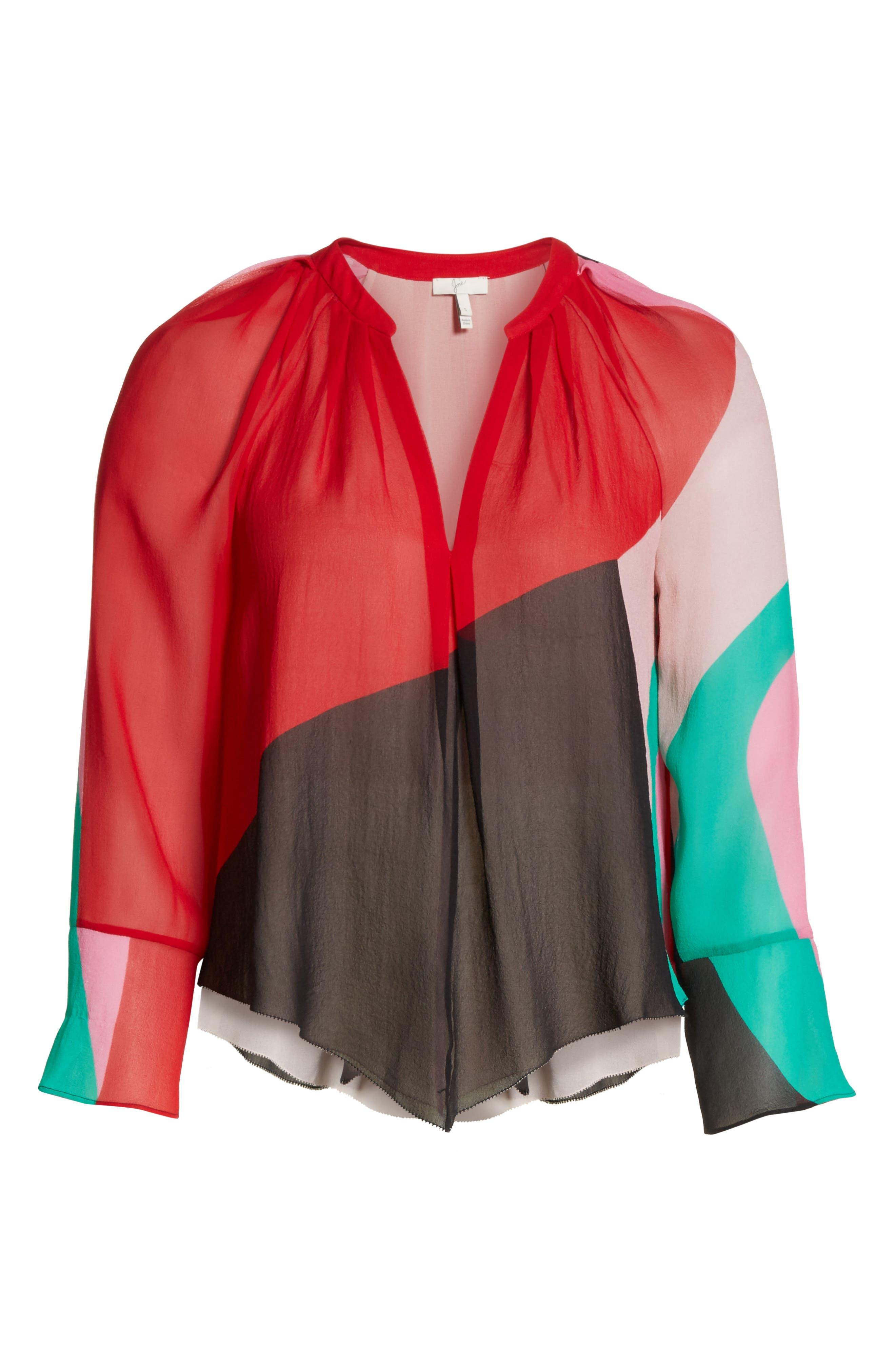 Quinlynn Colorblock Silk Top,                             Alternate thumbnail 6, color,                             Multi