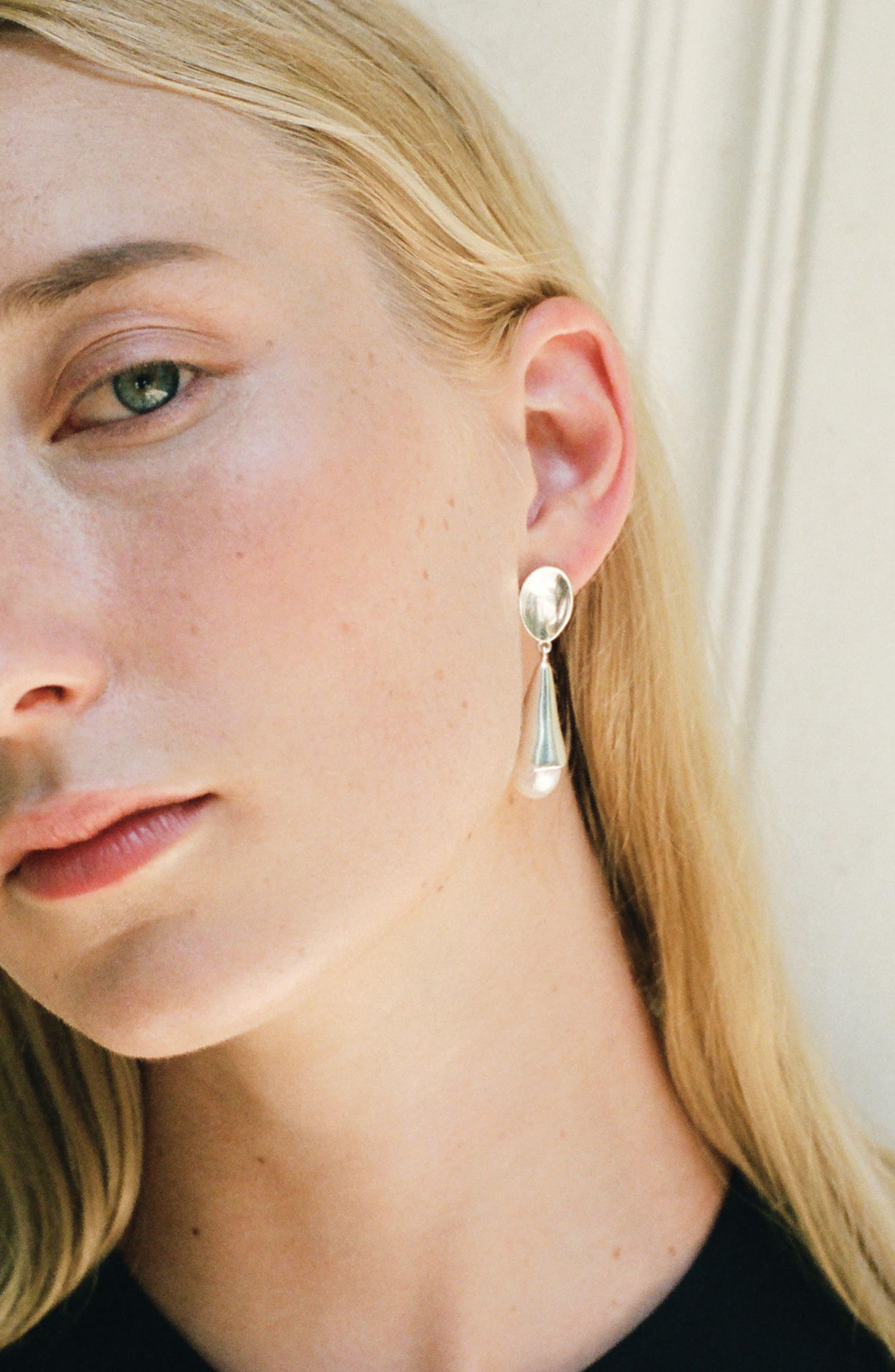 Freshwater Pearl Drop Earrings,                             Alternate thumbnail 3, color,                             Sterling Silver/ Pearl
