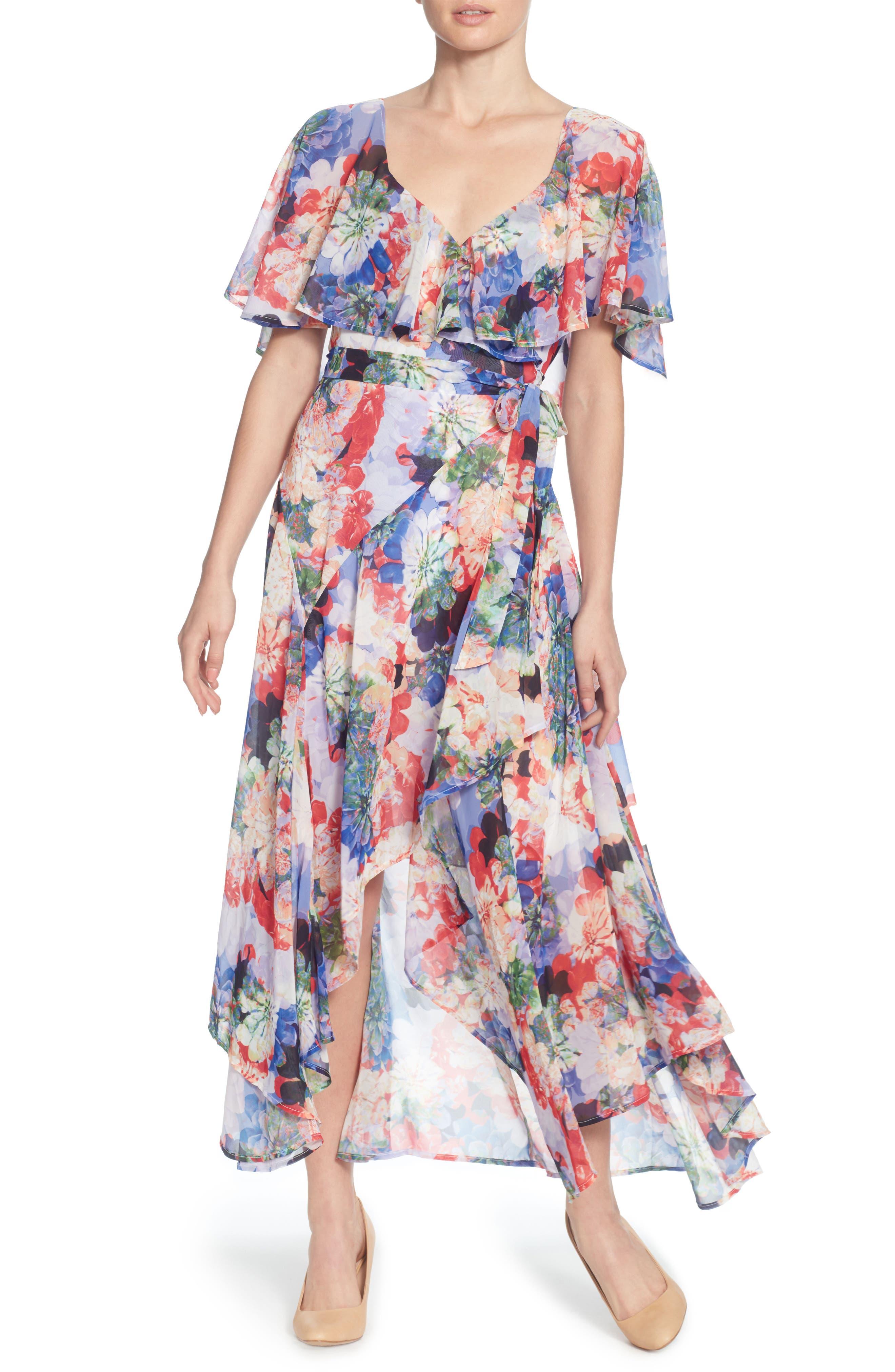 Jos Floral Capelet Wrap Dress,                             Main thumbnail 1, color,                             Spring Blooms