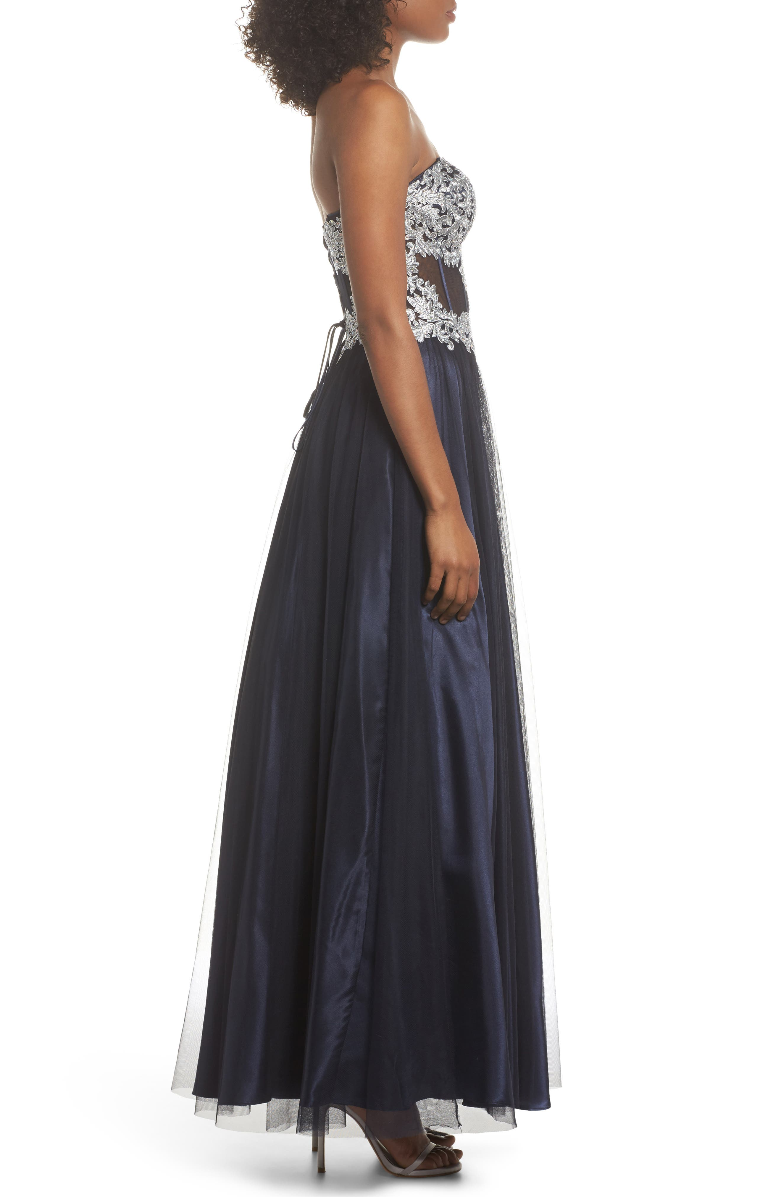 Embellished Corset Ballgown,                             Alternate thumbnail 3, color,                             Navy/ Silver