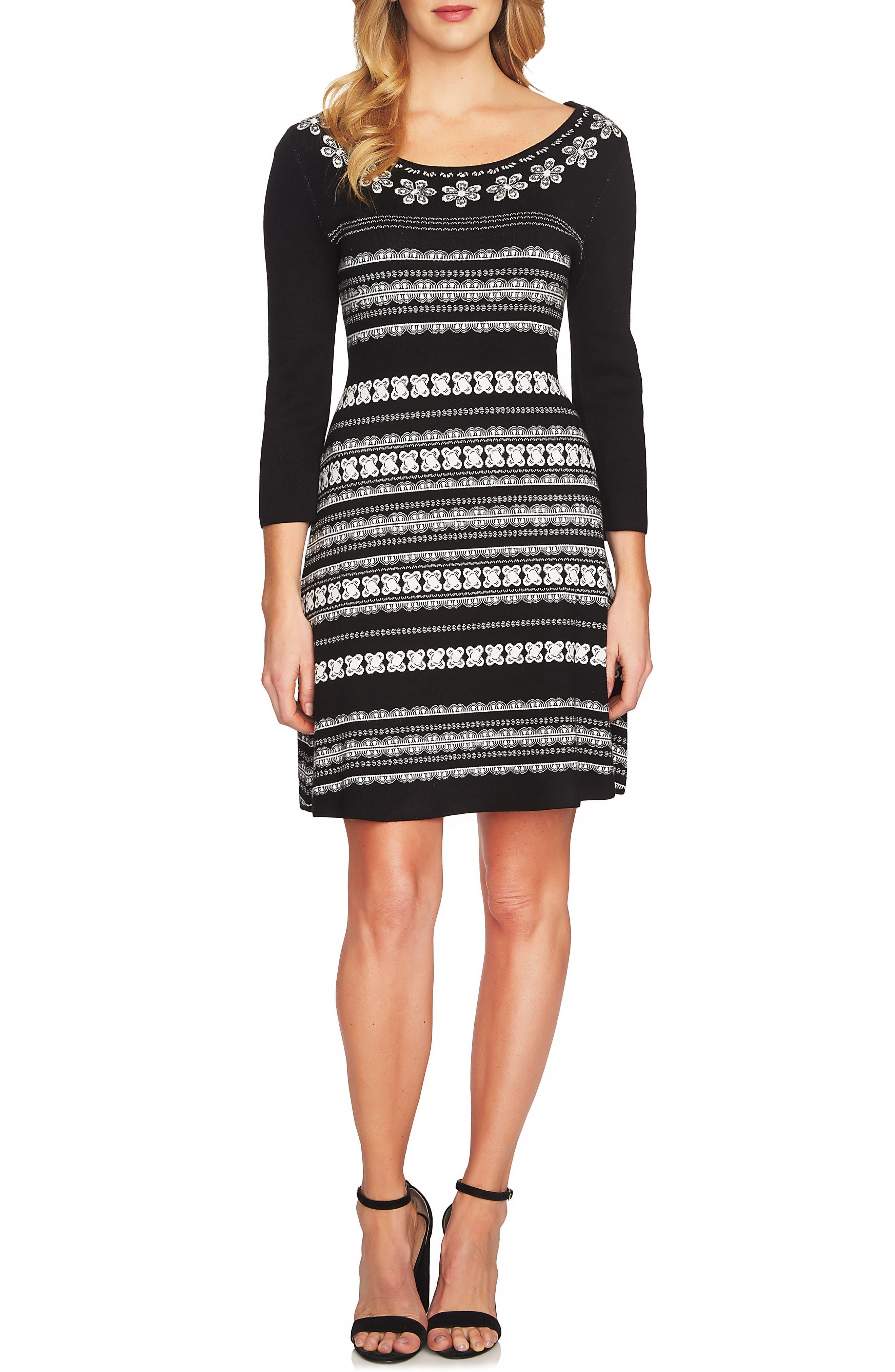 A-Line Jacquard Knit Dress,                             Main thumbnail 1, color,                             Rich Black
