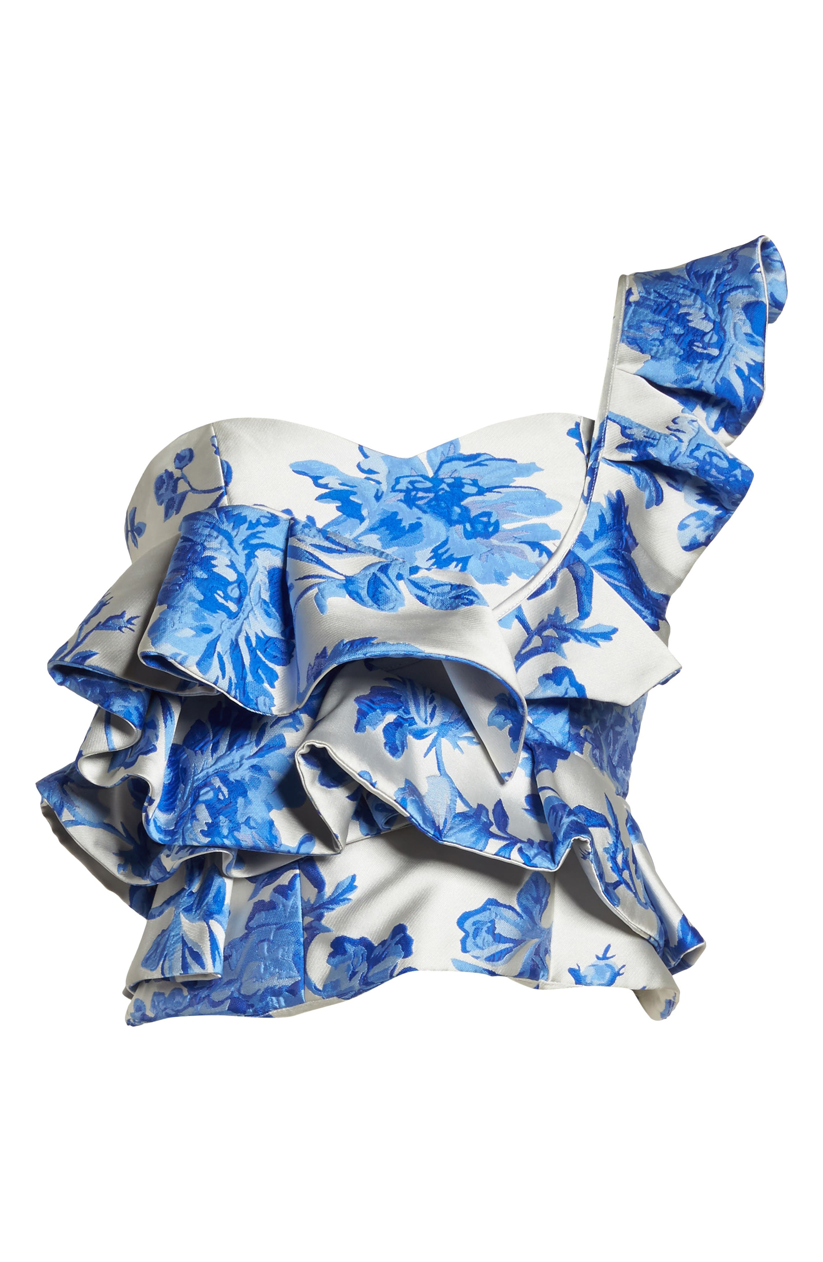 Mestiza Katalina Floral Ruffle One-Shoulder Top,                             Alternate thumbnail 6, color,                             Porcelain Blue