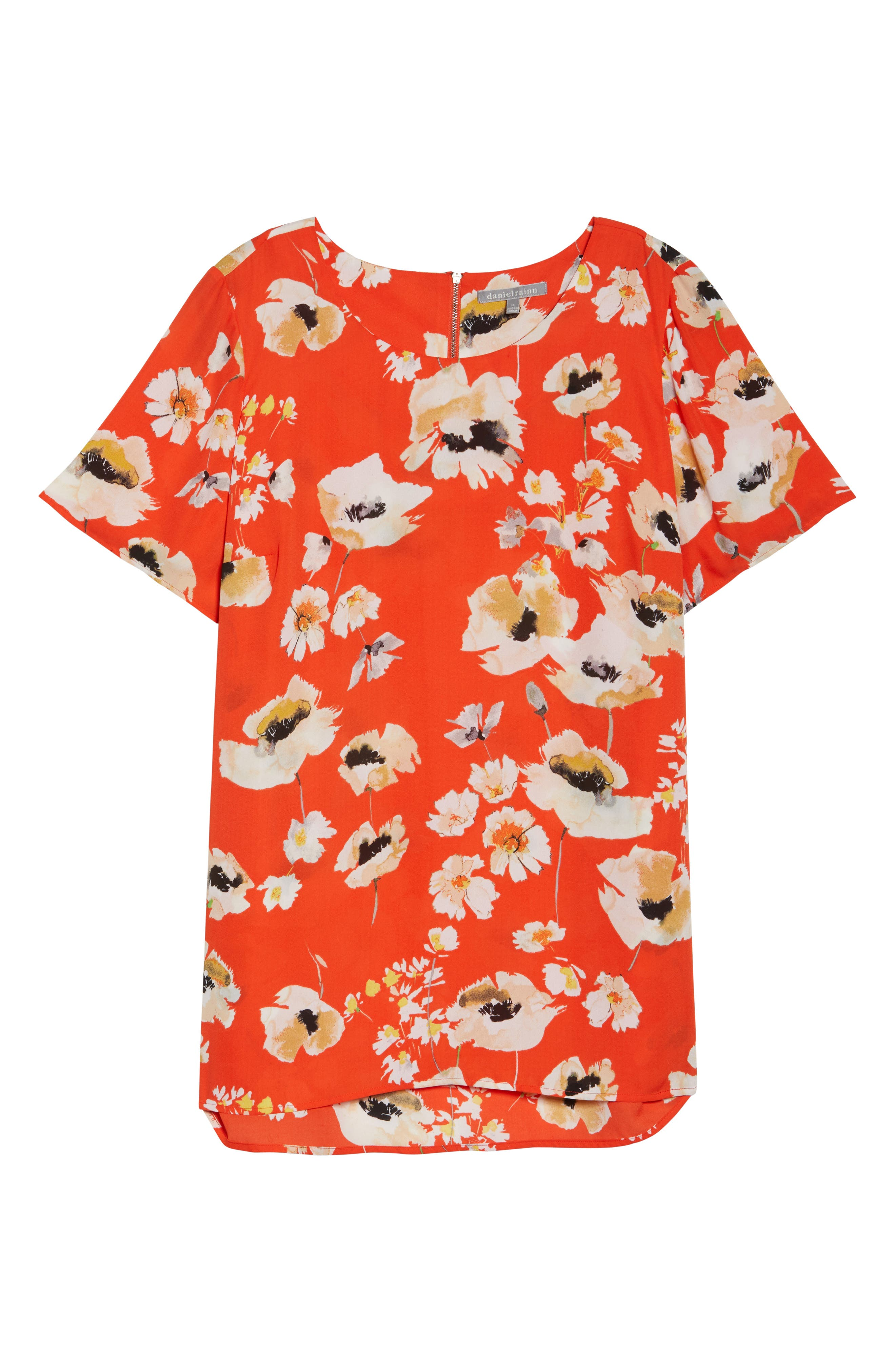 Print Crepe Tee,                             Alternate thumbnail 6, color,                             C946n Nectarine