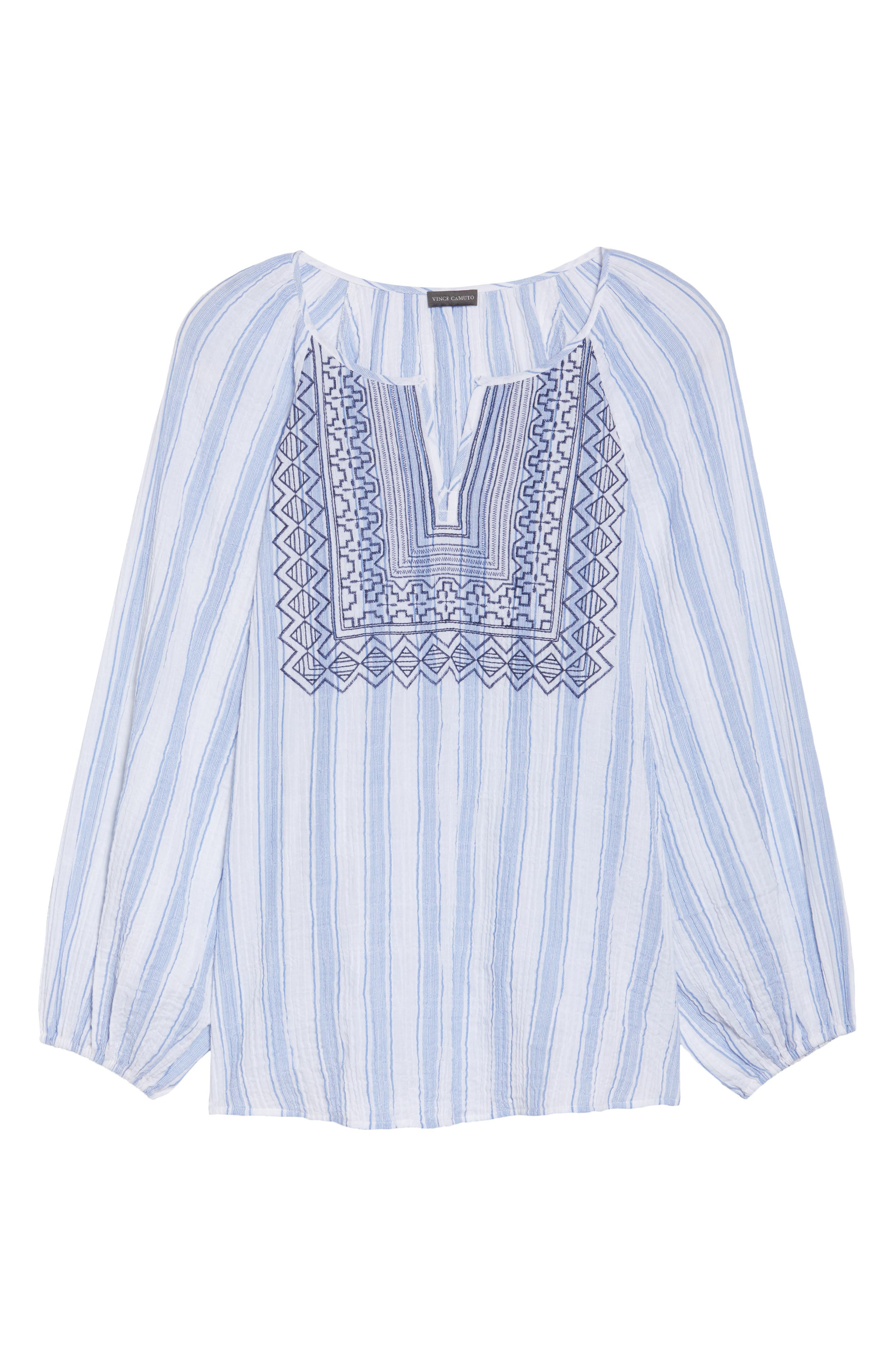 Embroidered Stripe Top,                             Alternate thumbnail 6, color,                             Patina Blue