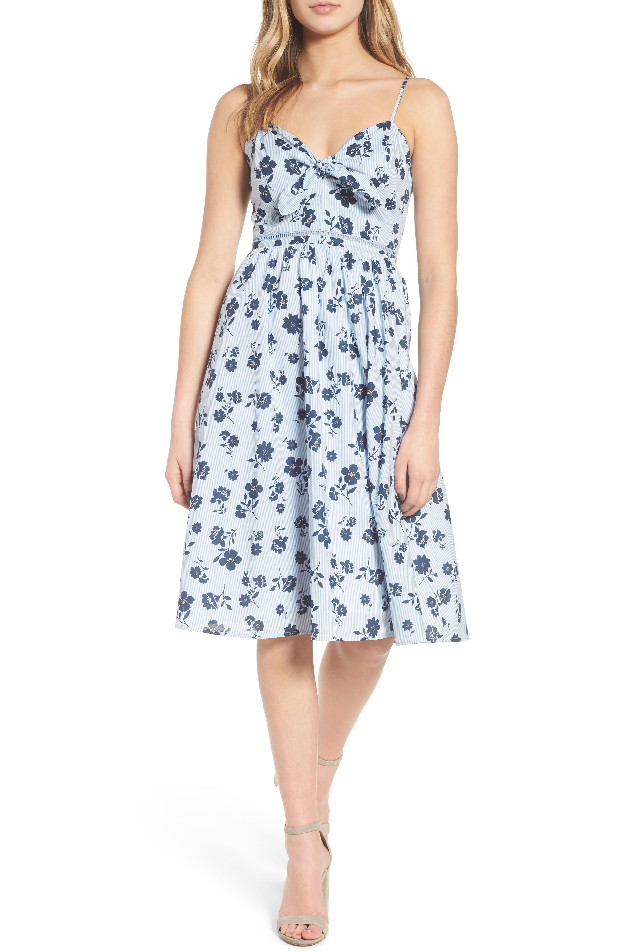 Floral Cotton Fit & Flare Dress,                             Main thumbnail 1, color,                             Sky Stripe