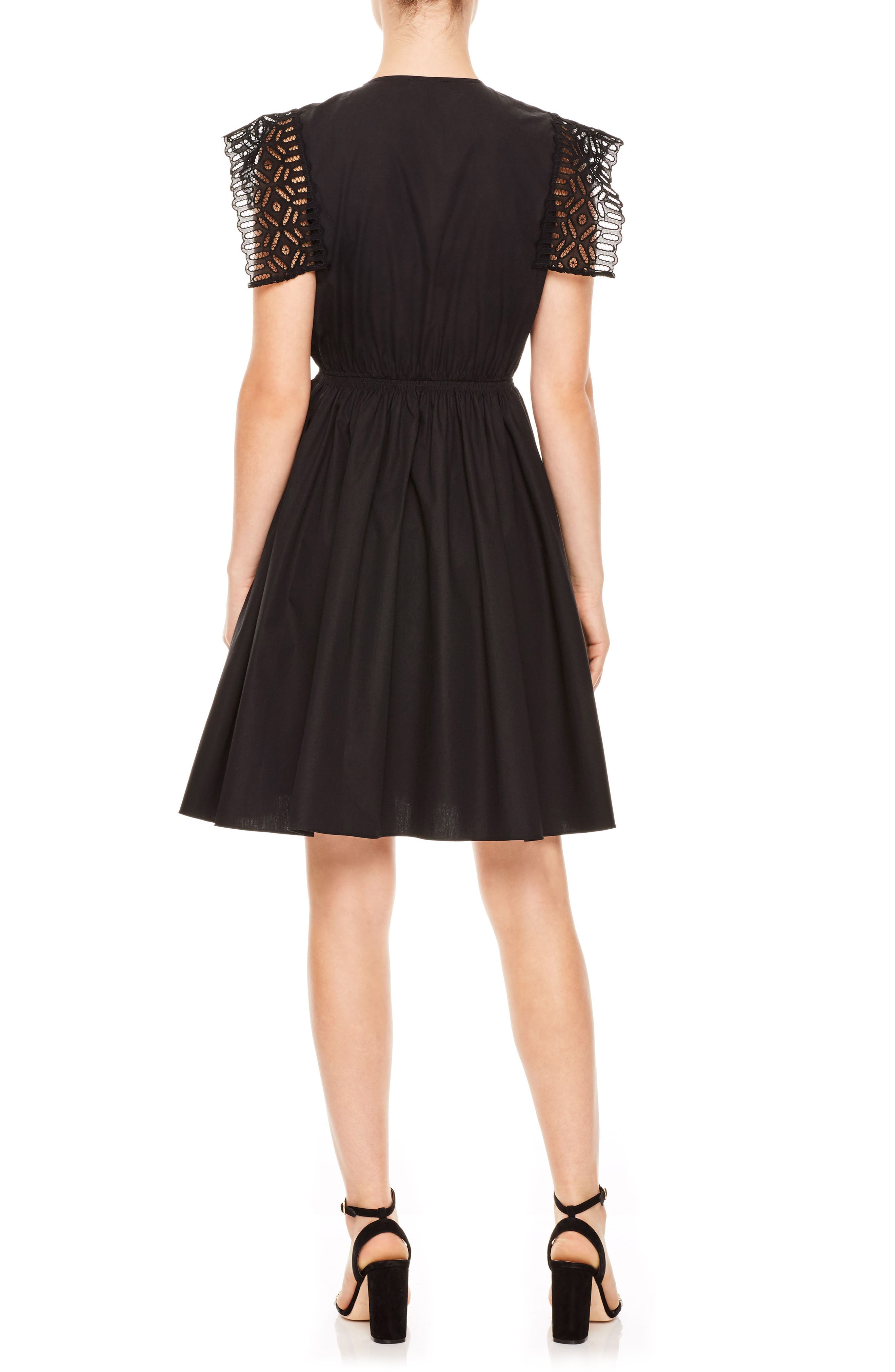 Noir Lace Popover Mini Dress,                             Alternate thumbnail 2, color,                             Black