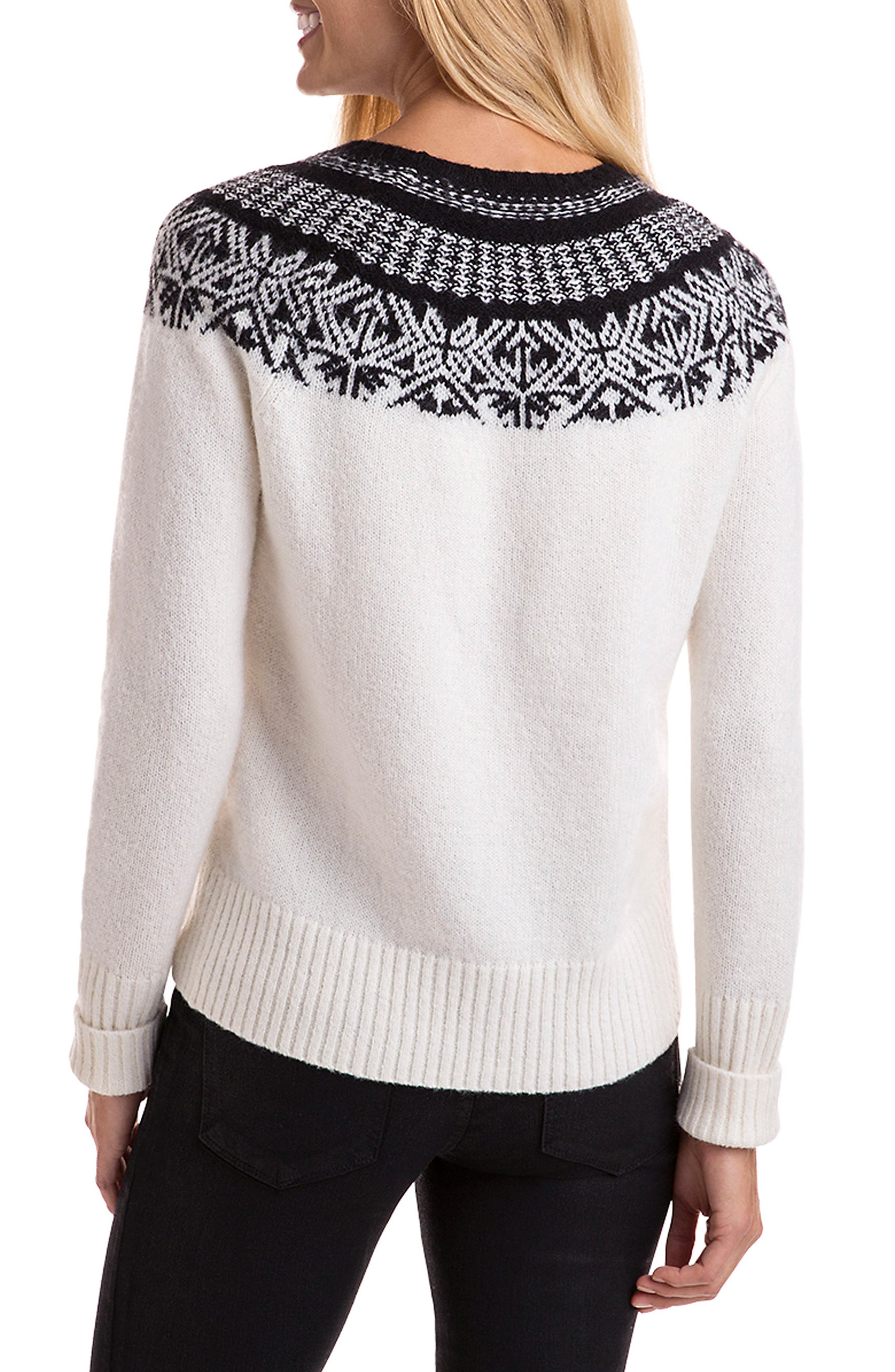 Nordic Fair Isle Sweater,                             Alternate thumbnail 2, color,                             Ivory