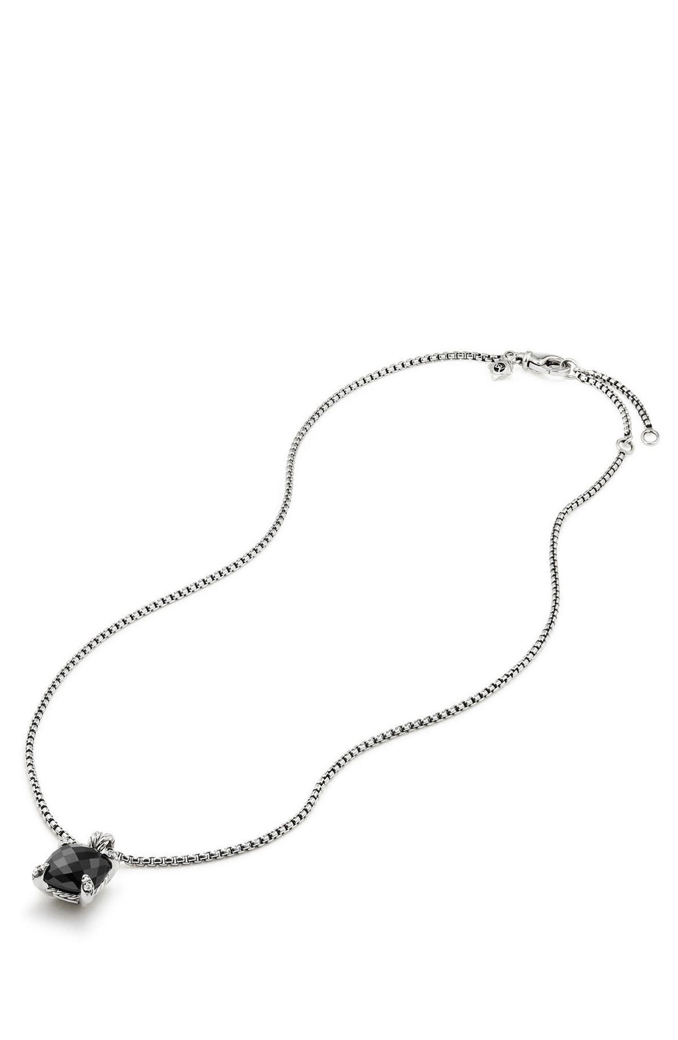 Châtelaine Pendant Necklace with Black Onyx and Diamonds,                             Alternate thumbnail 3, color,                             Black Onyx