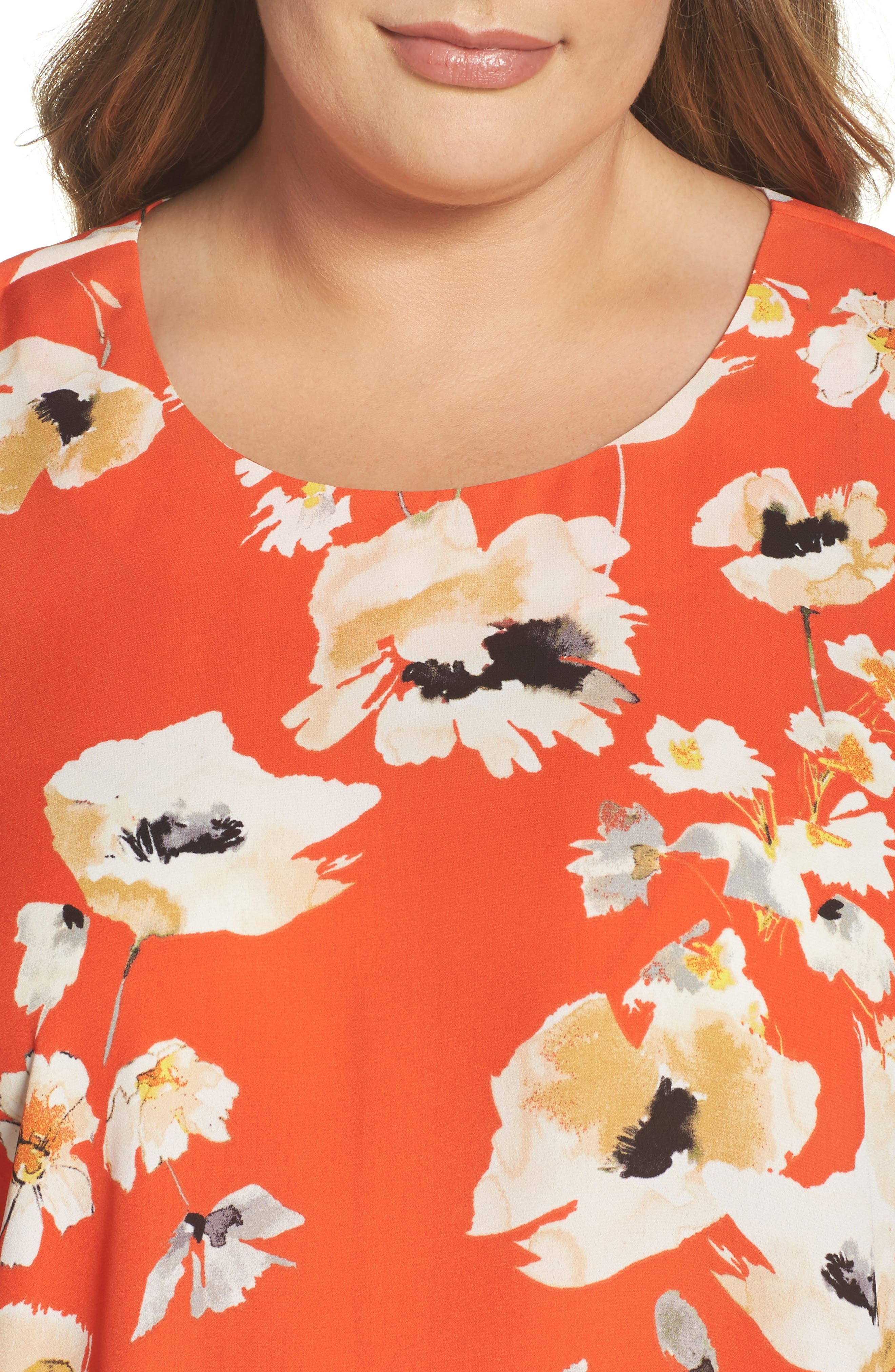 Print Crepe Tee,                             Alternate thumbnail 4, color,                             C946n Nectarine