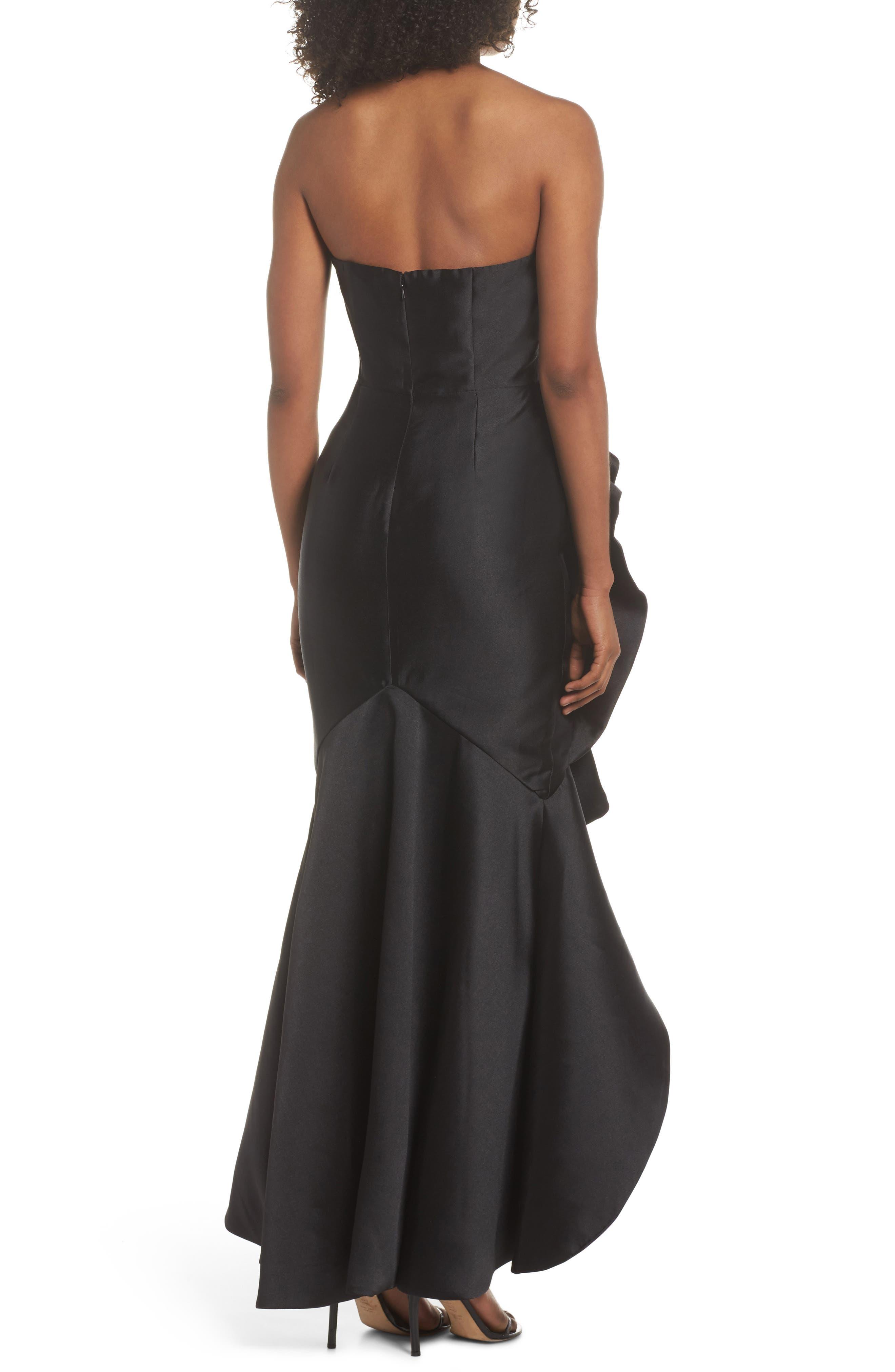 Sellers High/Low Mermaid Gown,                             Alternate thumbnail 3, color,                             Black